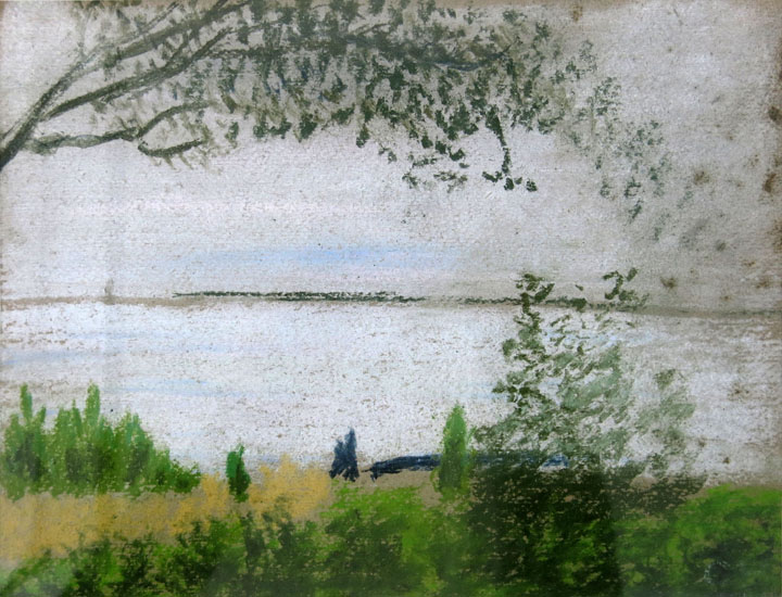 Charles W. Hutson, View of the Bay, c. 1935, pastel on paper, 9h x 11.5w in.