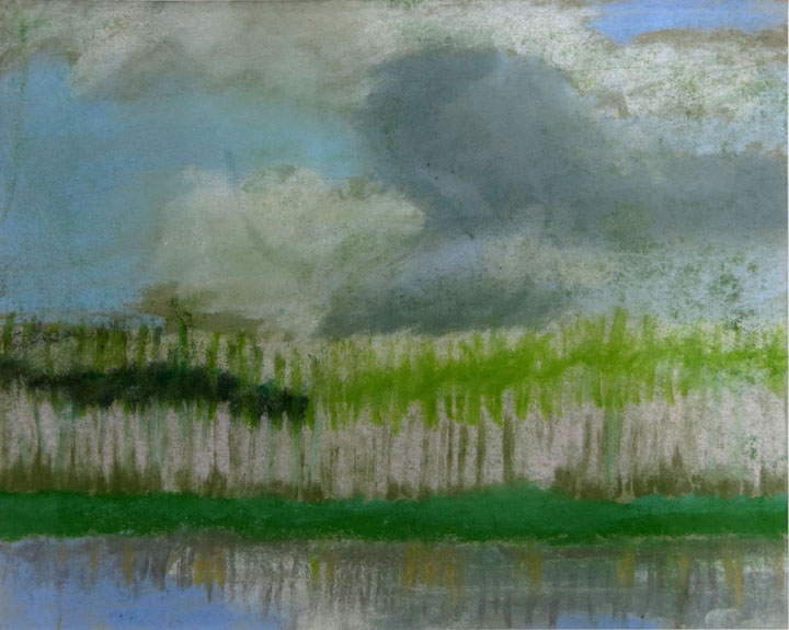 Charles W. Hutson, Marsh Grass in Spring, c. 1925 - 1930, pastel on paper, 7.5h x 9.5w in.