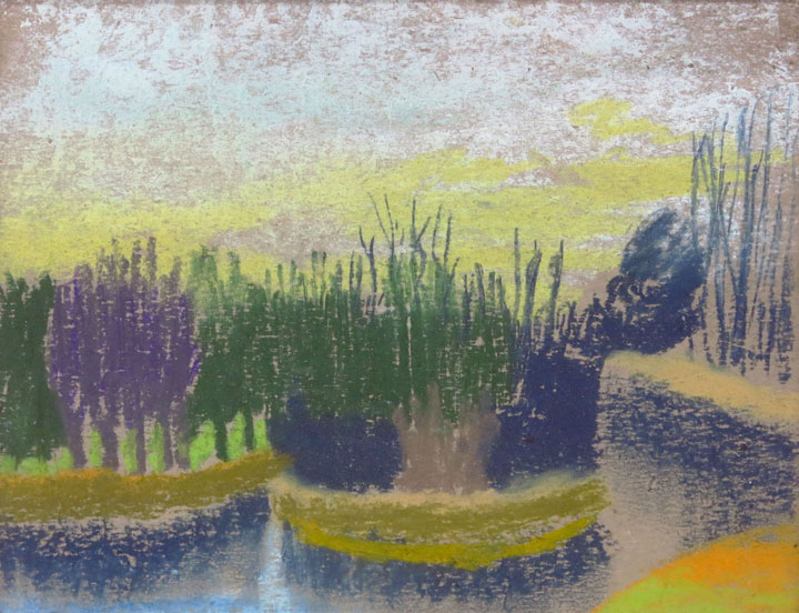 Charles W. Hutson, Marsh Grasses, c. 1925-1930, pastel on paper, 7.5h x 9.5w in.