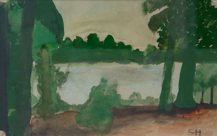 Charles W. Hutson, Back Bay, c. 1920-1930, watercolor on paper, 5.75h x 8.75w in.