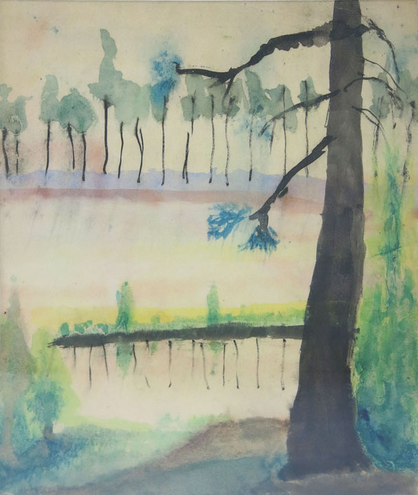 Charles W. Hutson, Big Pine at the Pond,  c. 1935-1935, 13.5h x 9.5w in.