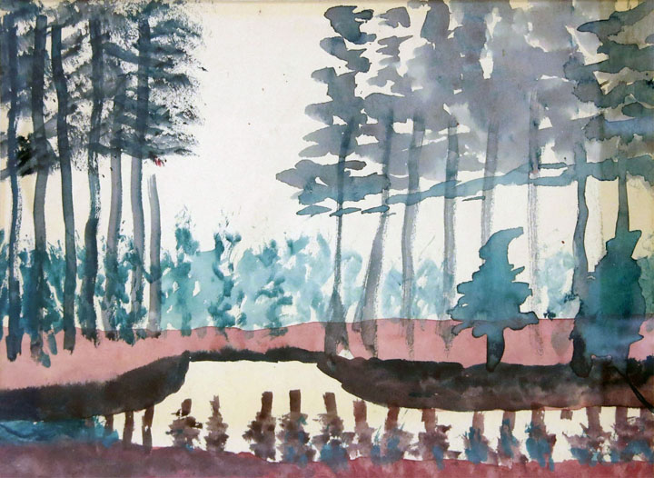 Charles W. Hutson, Trees near Canal, c. 1925, watercolor on paper, 8.75h x 11.5w in.