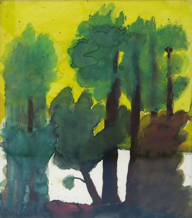 Charles W. Hutson, Sunset with Pines, c. 1930, watercolor on paper, 13.75h x 10.5w in.