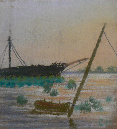 Charles W. Hutson, Shipyard at Back Bay, c. 1931, Pastel on paper, 9h x 8w in.
