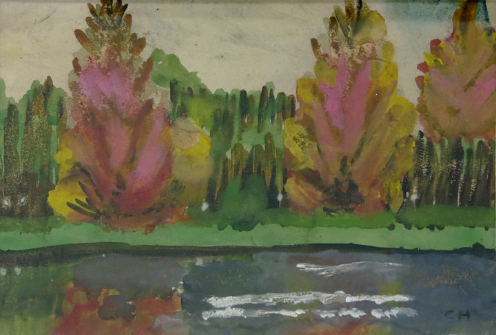 Charles W. Hutson, Fall Foliage Along the Bayou, c. 1920-1930, watercolor on paper, 9.5h x 13.5w in.