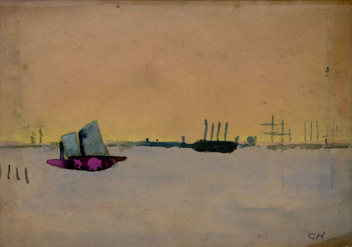 Charles W. Hutson, Calm Waters, c. 1915- 1920, watercolor on paper, 8.5h x 11.5w in.