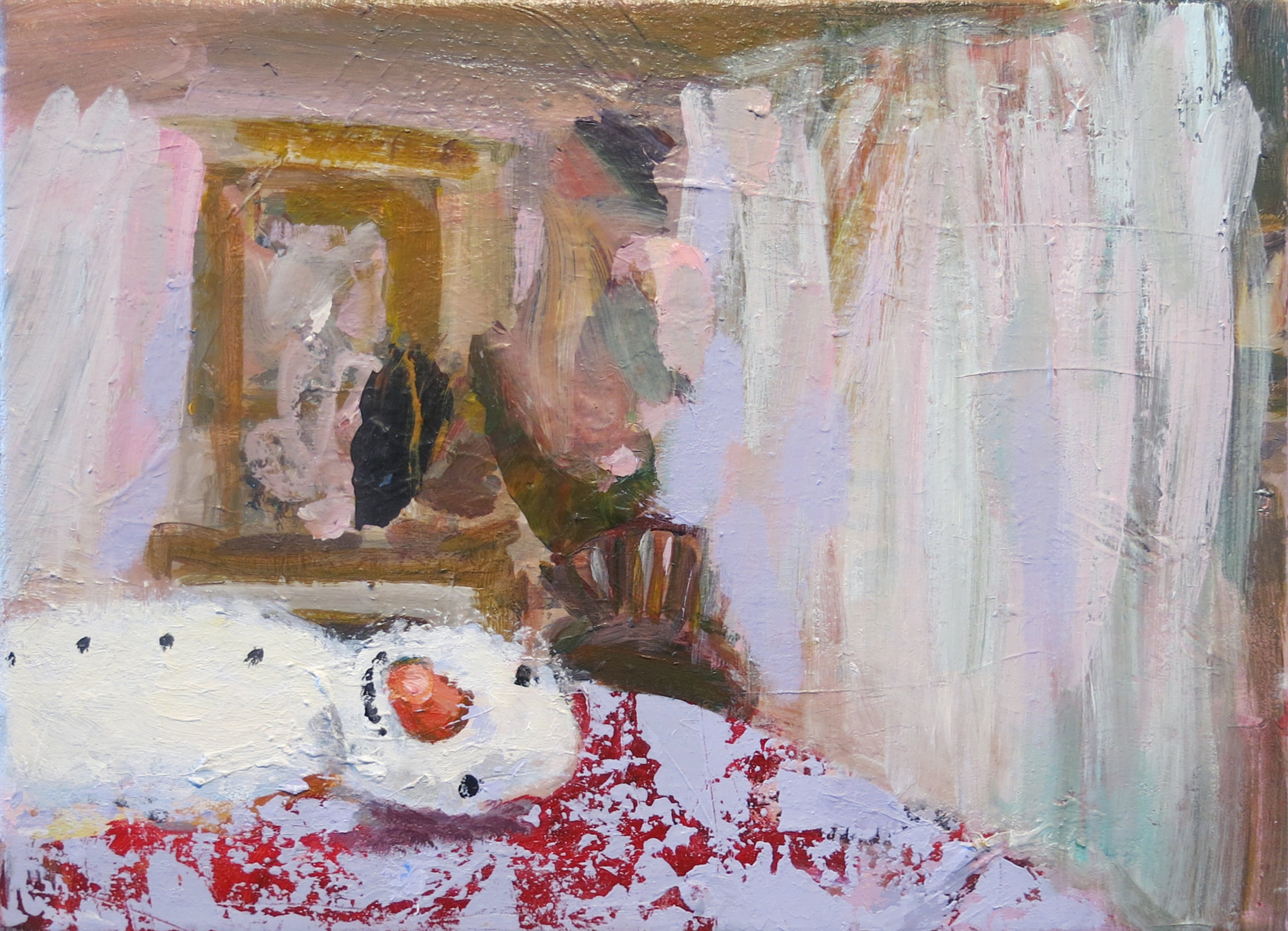 Judith Simonian, Nap Time for Frosty, 2014, acrylic on canvas, 11h x 14.75w in.