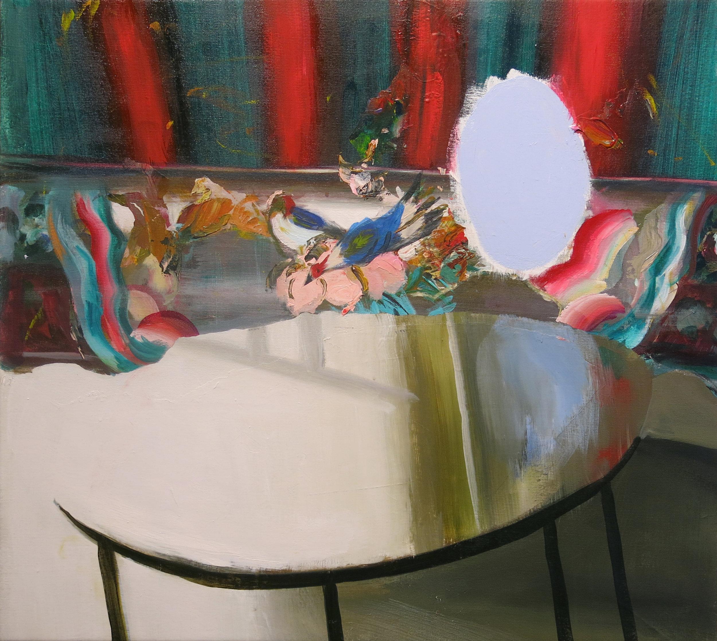 Judith Simonian, Blue Mirror Table, 2014, acrylic on canvas, 28h x 30.75w in.