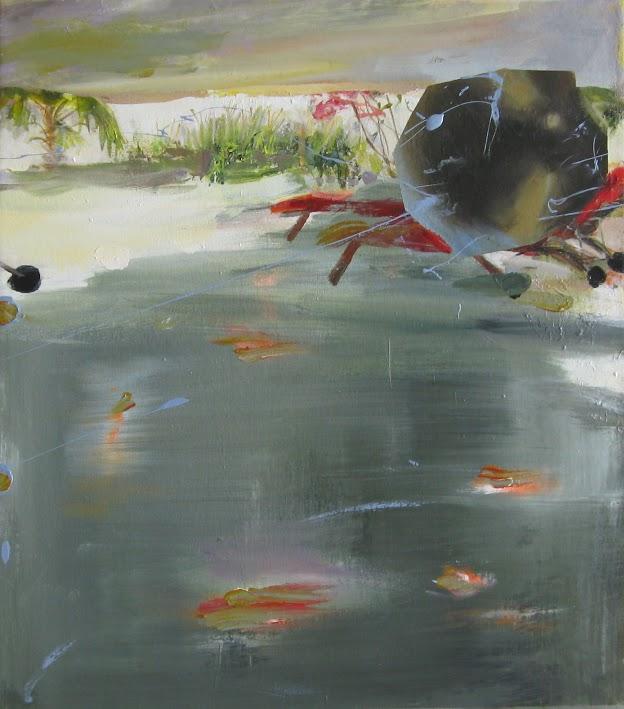 Judith Simonian, Patio Lounge Chairs, 2014, acrylic on canvas, 24h x 20w in.
