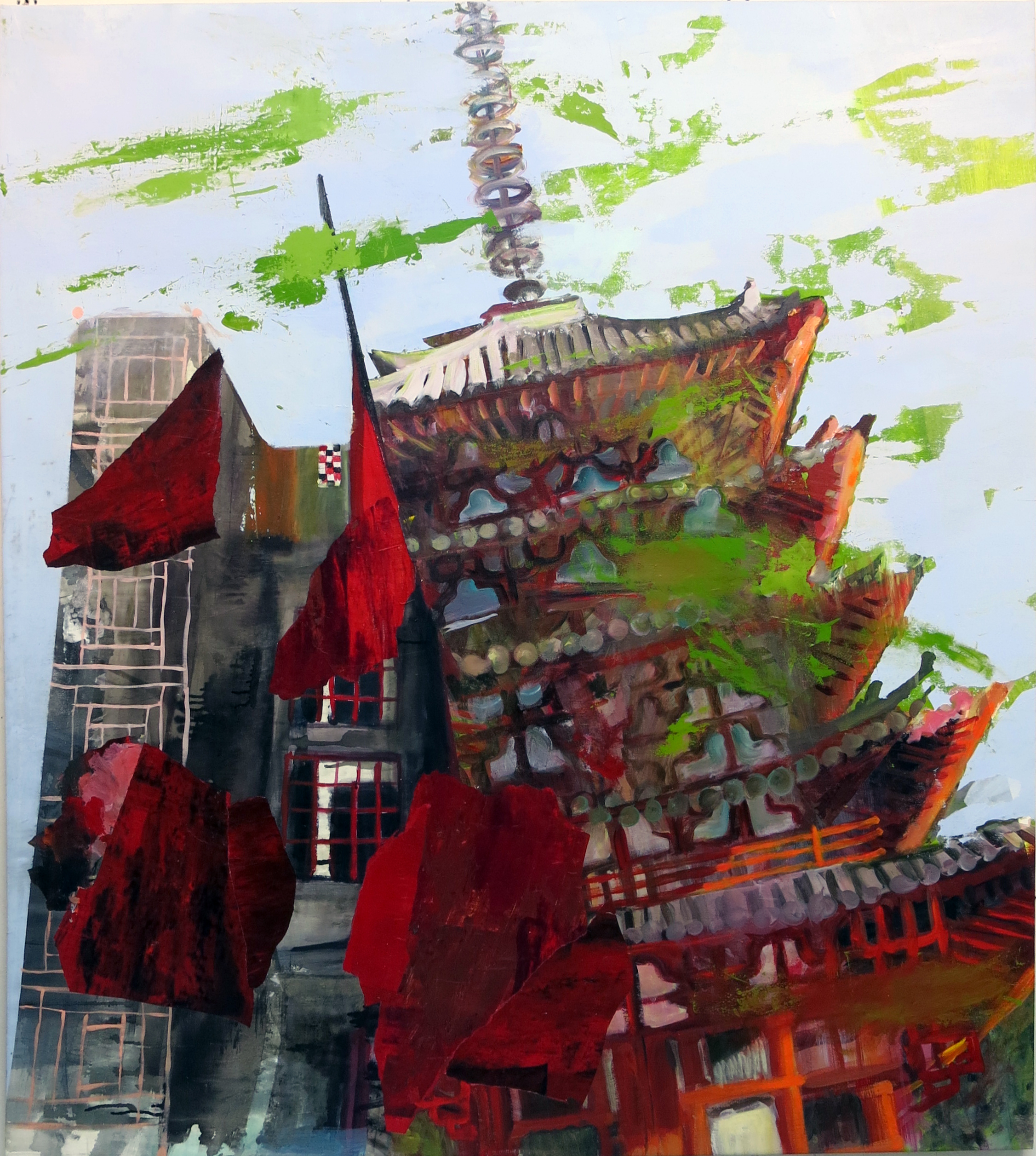 Judith Simonian, Tilting Red Tower, 2015, acrylic on canvas, 66h x 58w in.