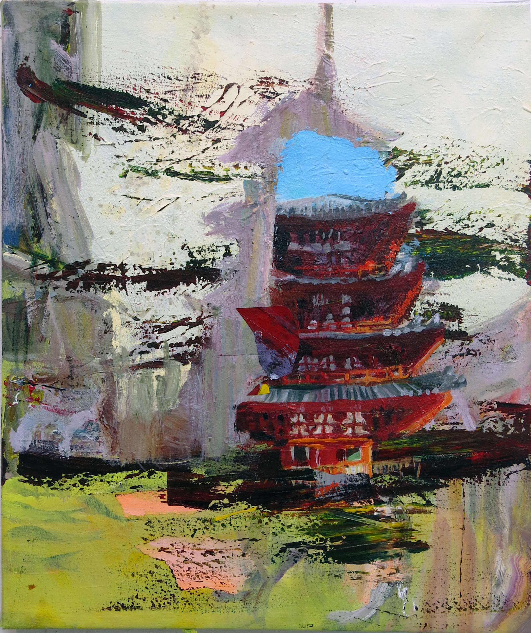 Judith Simonian, Old China on Mars, 2014, acrylic on canvas, 24h x 20w in.