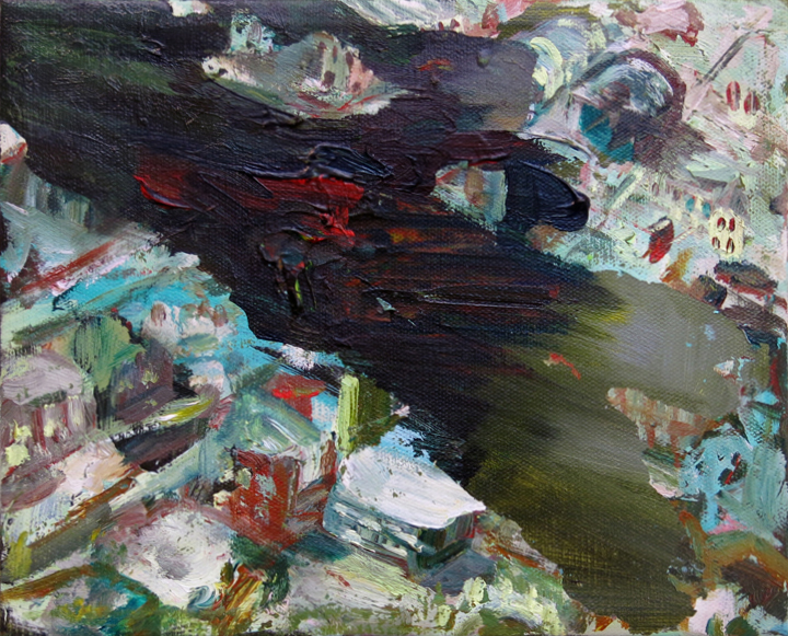 Judith Simonian, Green Deluge, 2015, acrylic on canvas, 8h x 10w in.