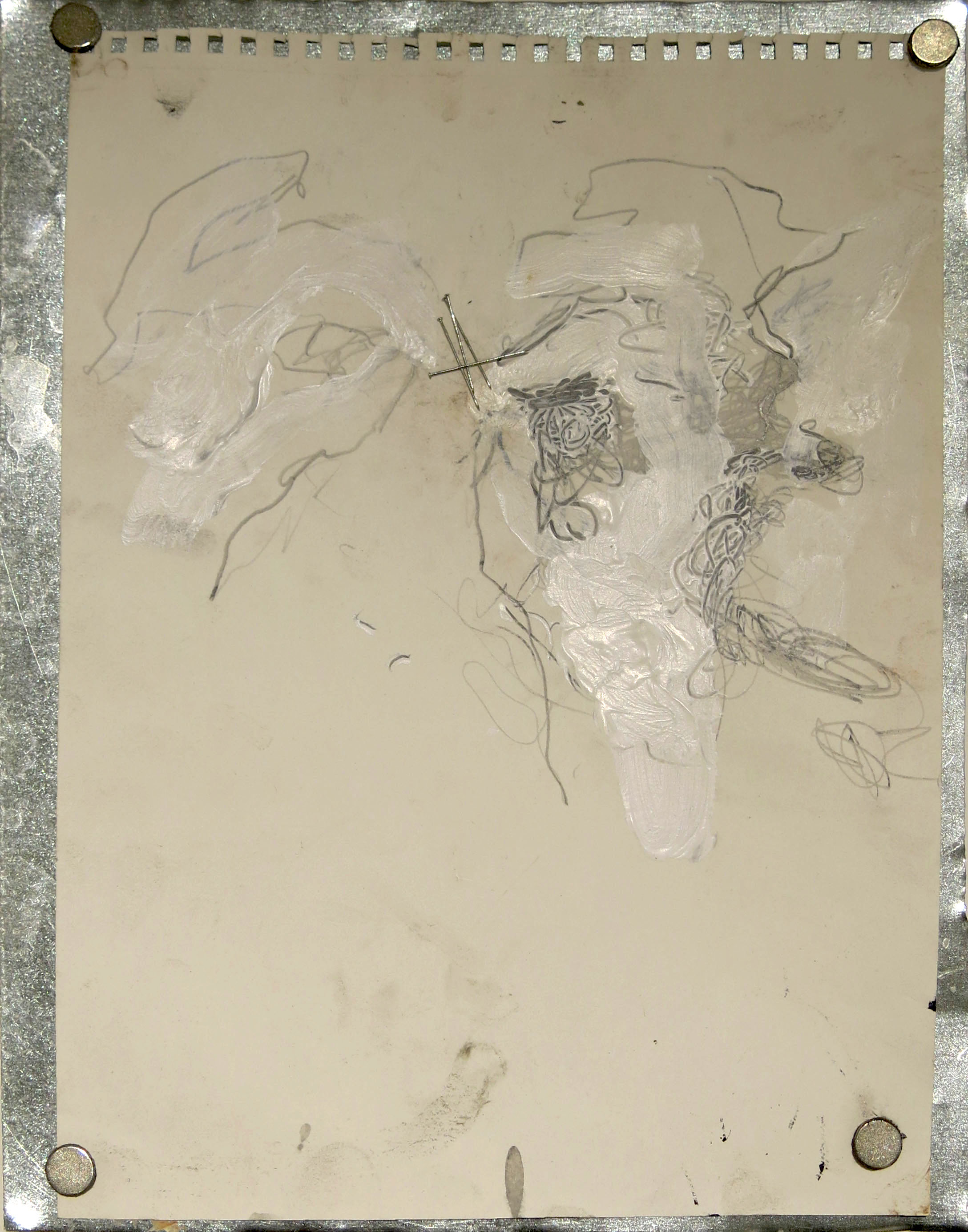 June Leaf,  Hands with Pins,  2014-2015, graphite, acrylic, needles on paper on tin, 30h x 40w in.