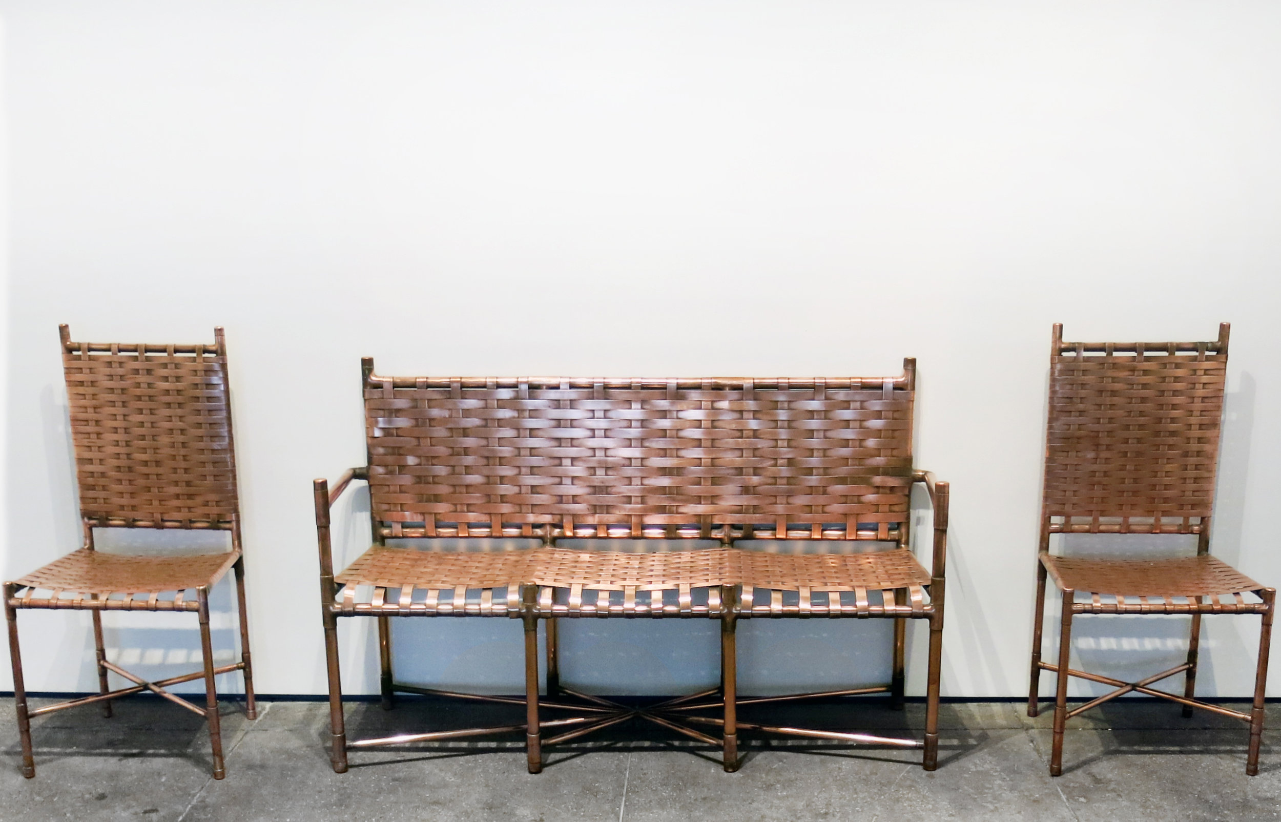 Paul Morgensen,  Copper Settee and Two Side Chairs,  1985, hand woven copper, settee: 35h x 57.5w x 17d in. chairs: 38.25h x 18.75w x 16d in.