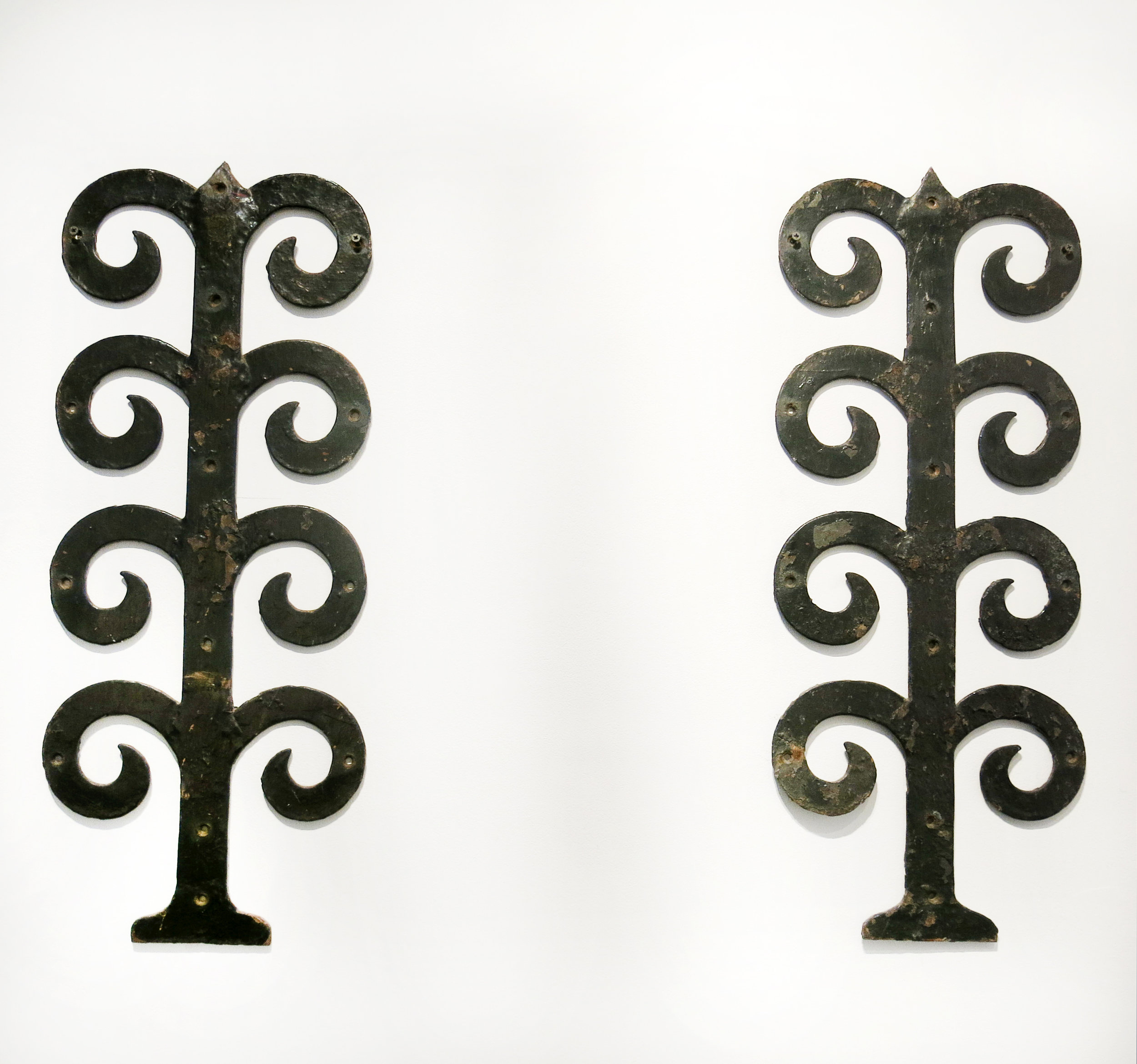 English, 2 Cast Iron Hinge Fronts, 19th c., cast iron, 29h x 11.5w in.