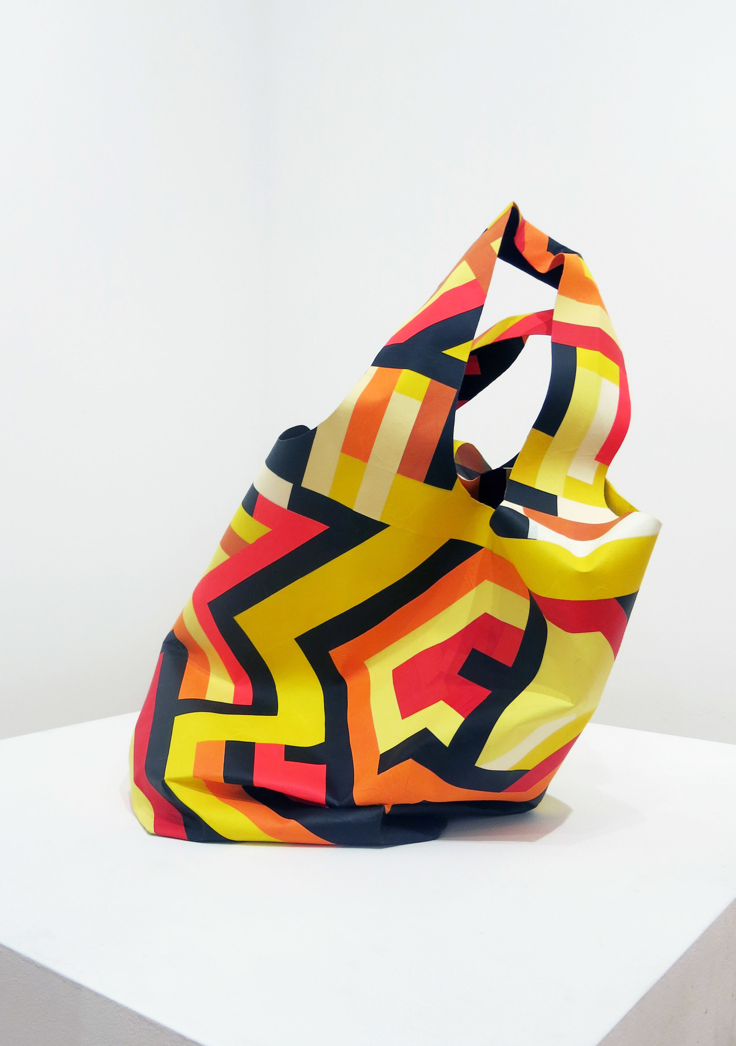 Billy Copley, Woodlawn Vase, 2017, acrylic and prepared paper on formed paper, 25h x 26 1/2w x 19d in.