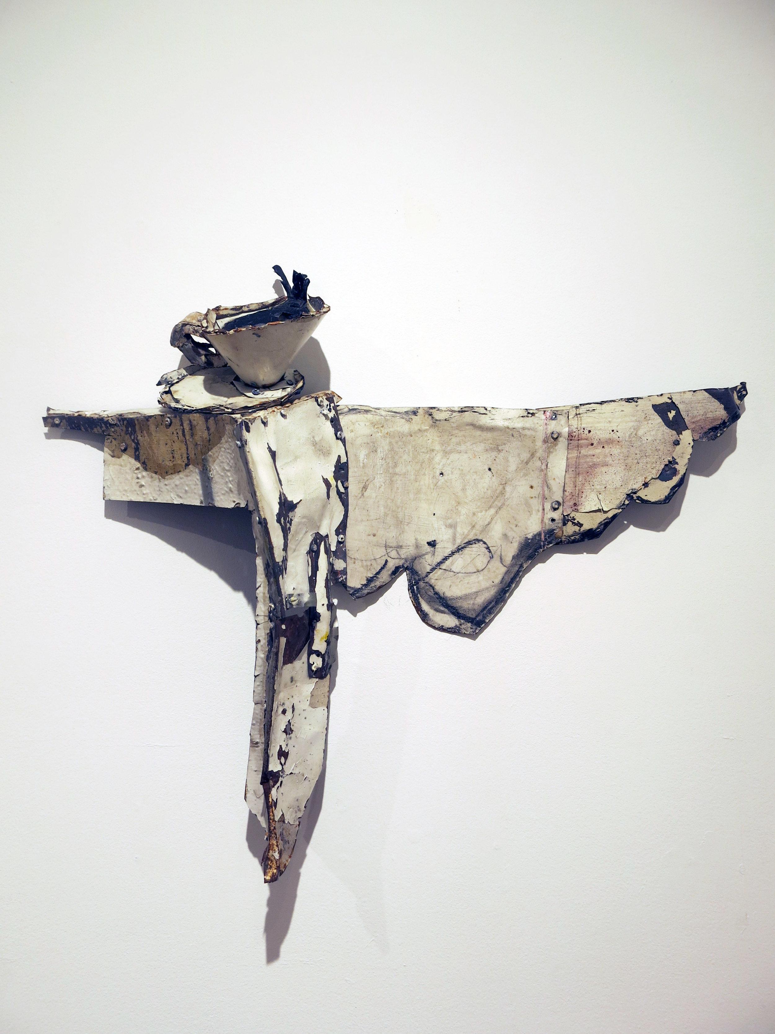 Matt Blackwell, Coffee, 2015, sheet metal, rivets, caulk, 26h x 24w x 6d in.