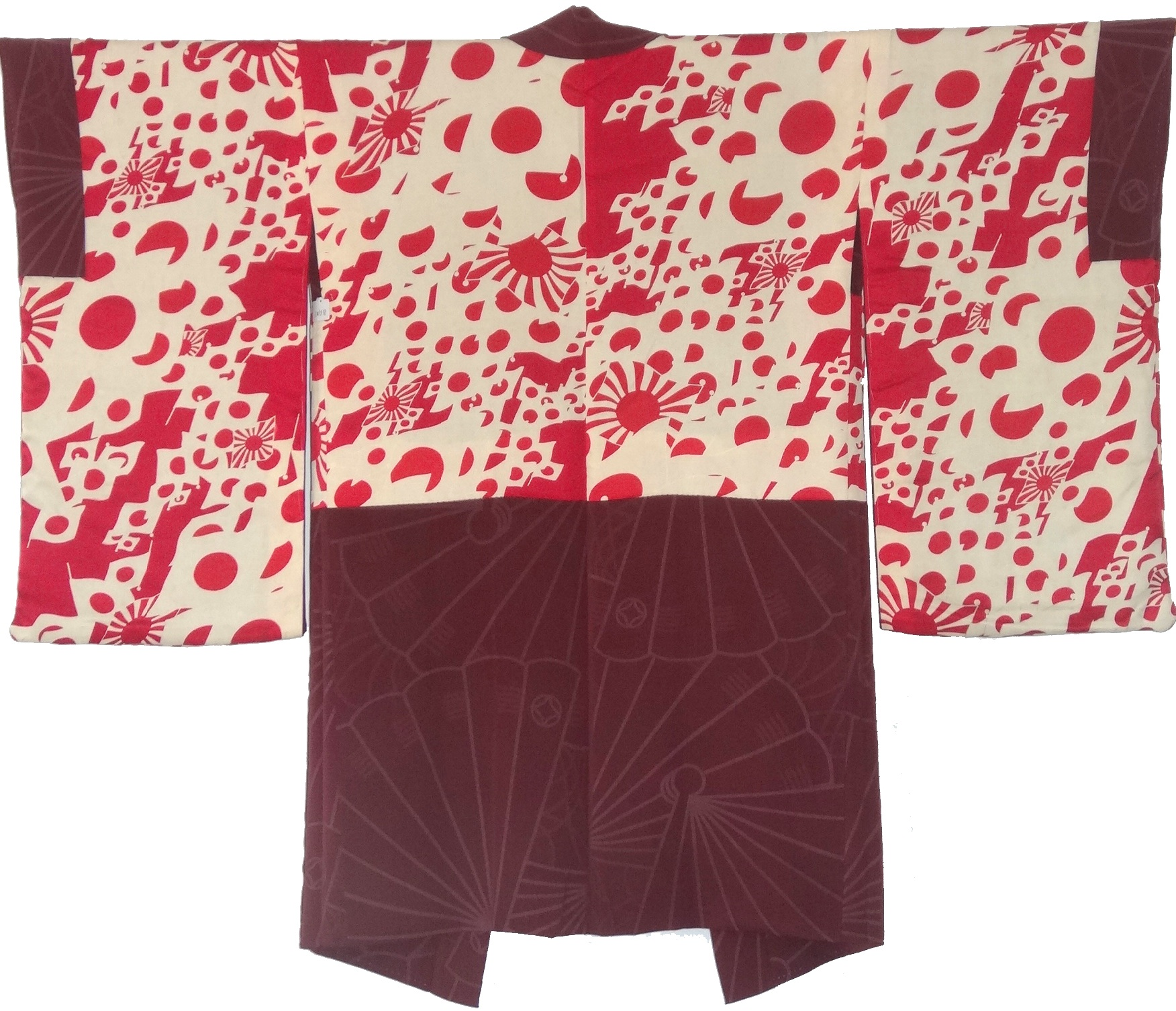 Flag Parade,  Woman's Haori, c. 1940, silk, 37h x 48.75w in.