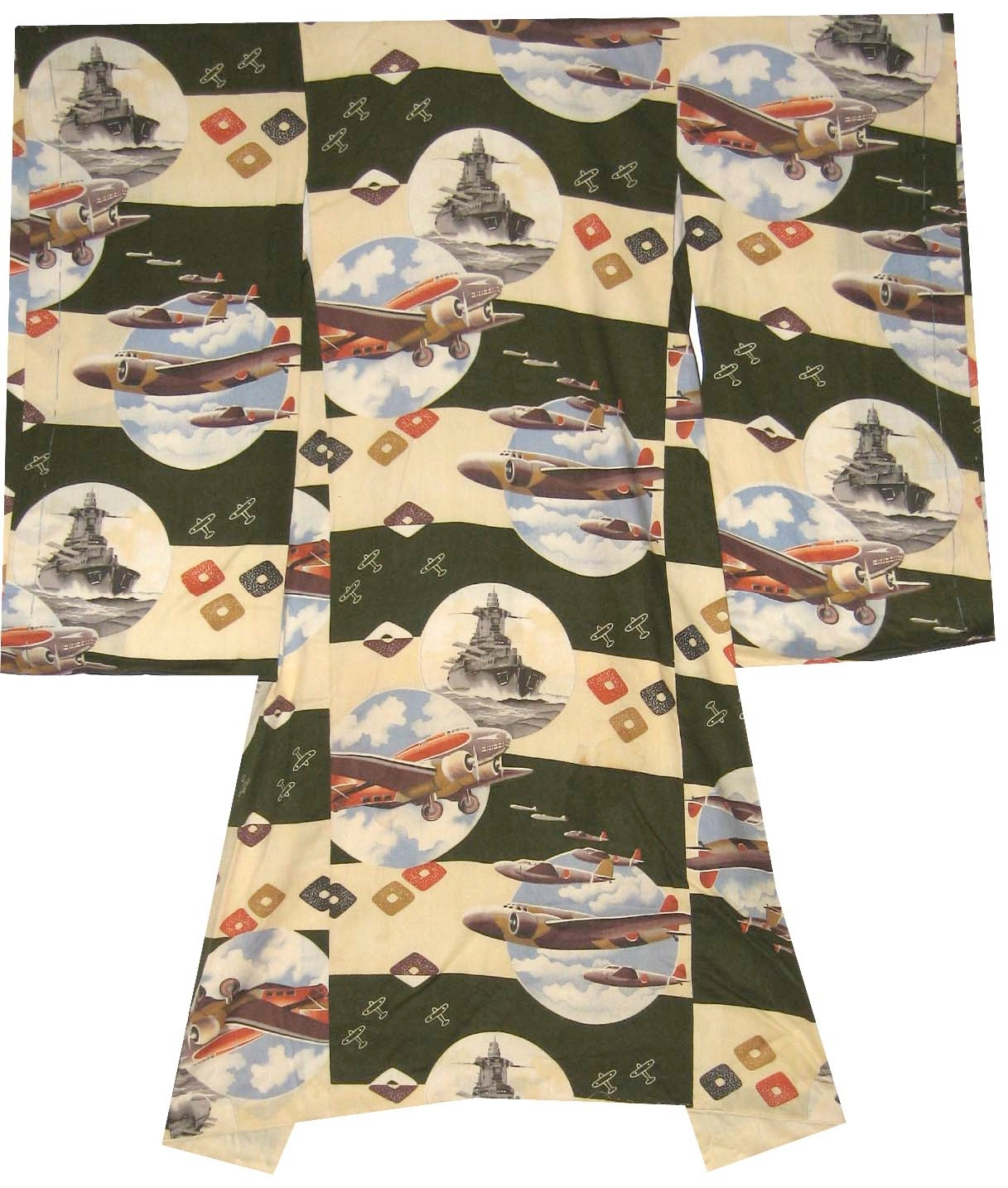 Bombers and Battleships,  Infant's Omiyamairi, c. 1940, rayon, 36h x 30w in.