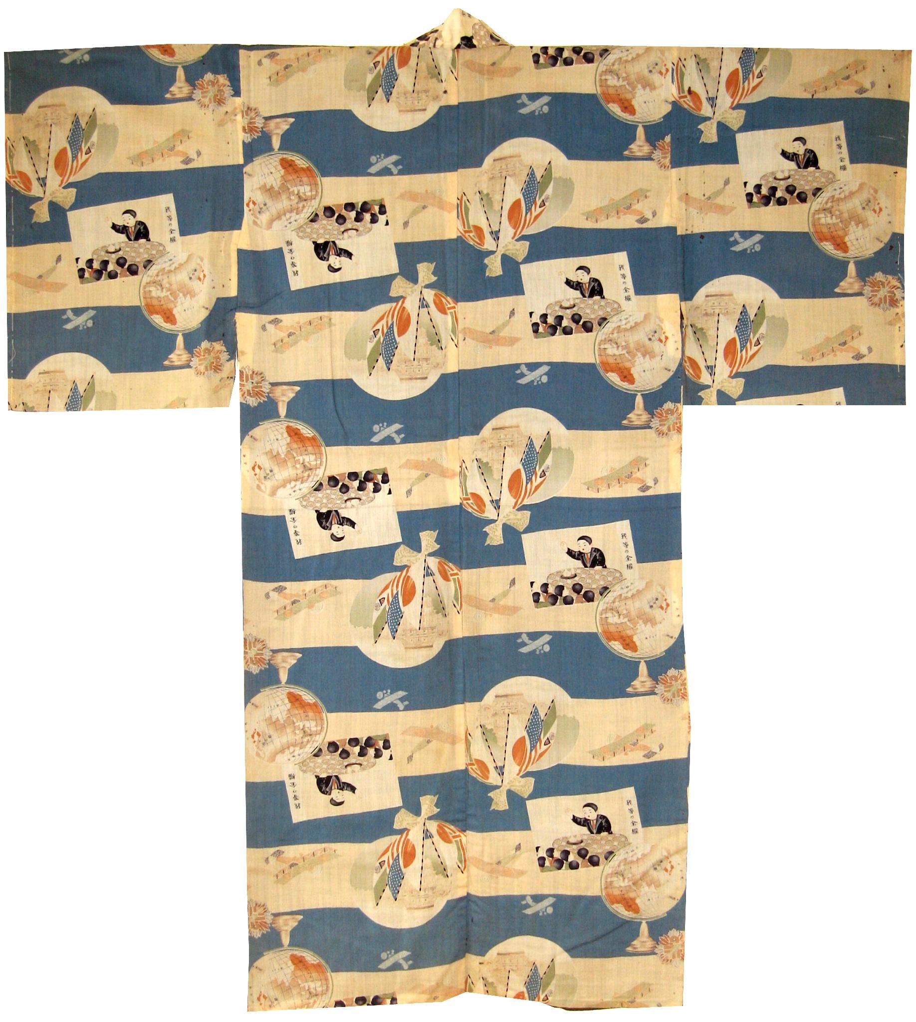League of Nations, Man's Nagajuban, c. 1933, wool, 51.5h x 48.75w in.