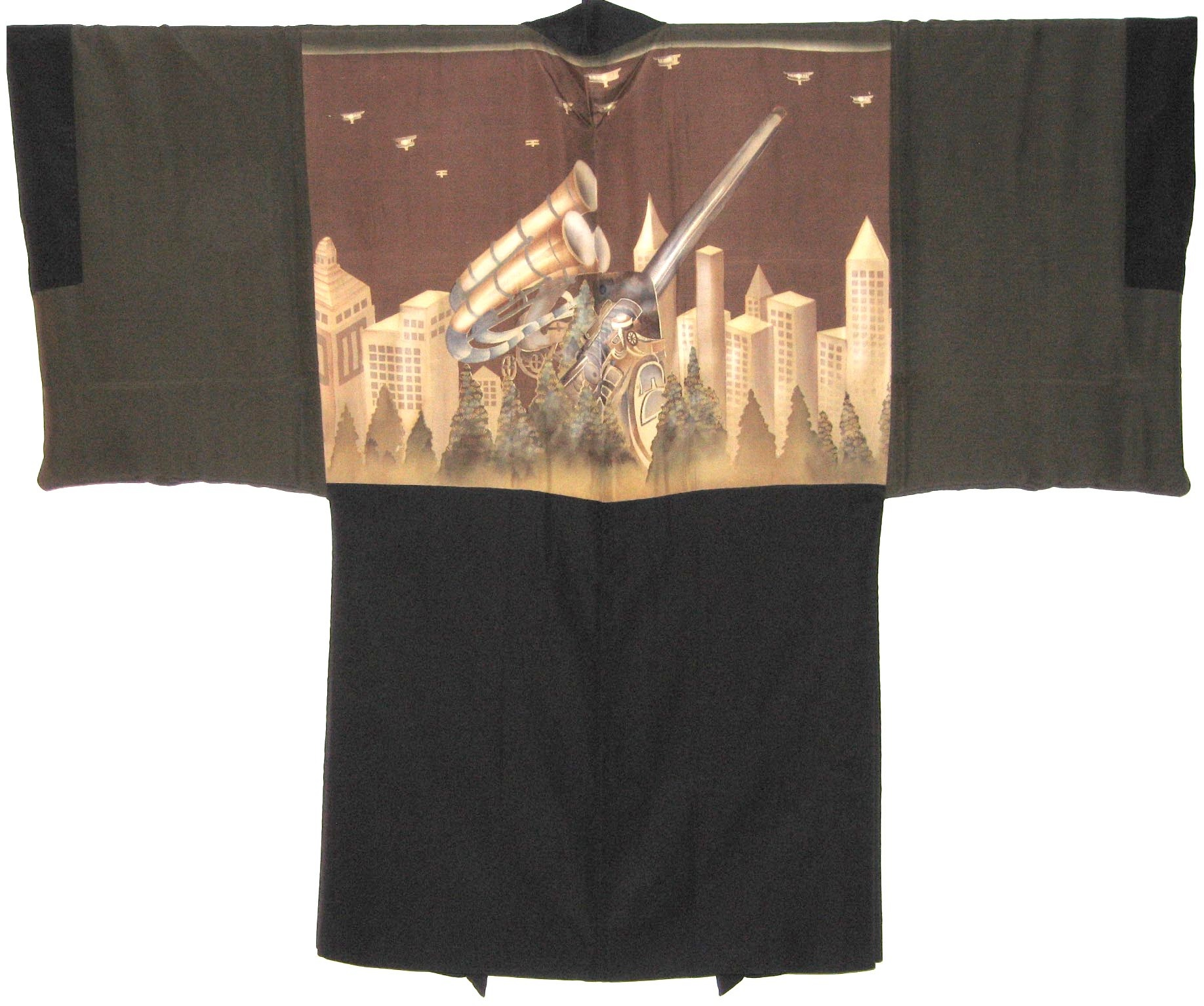 Acoustic Locator,  Man's Haori, c. 1935, Yuzen dyed silk (paste resist), 39h x 51.75w in.