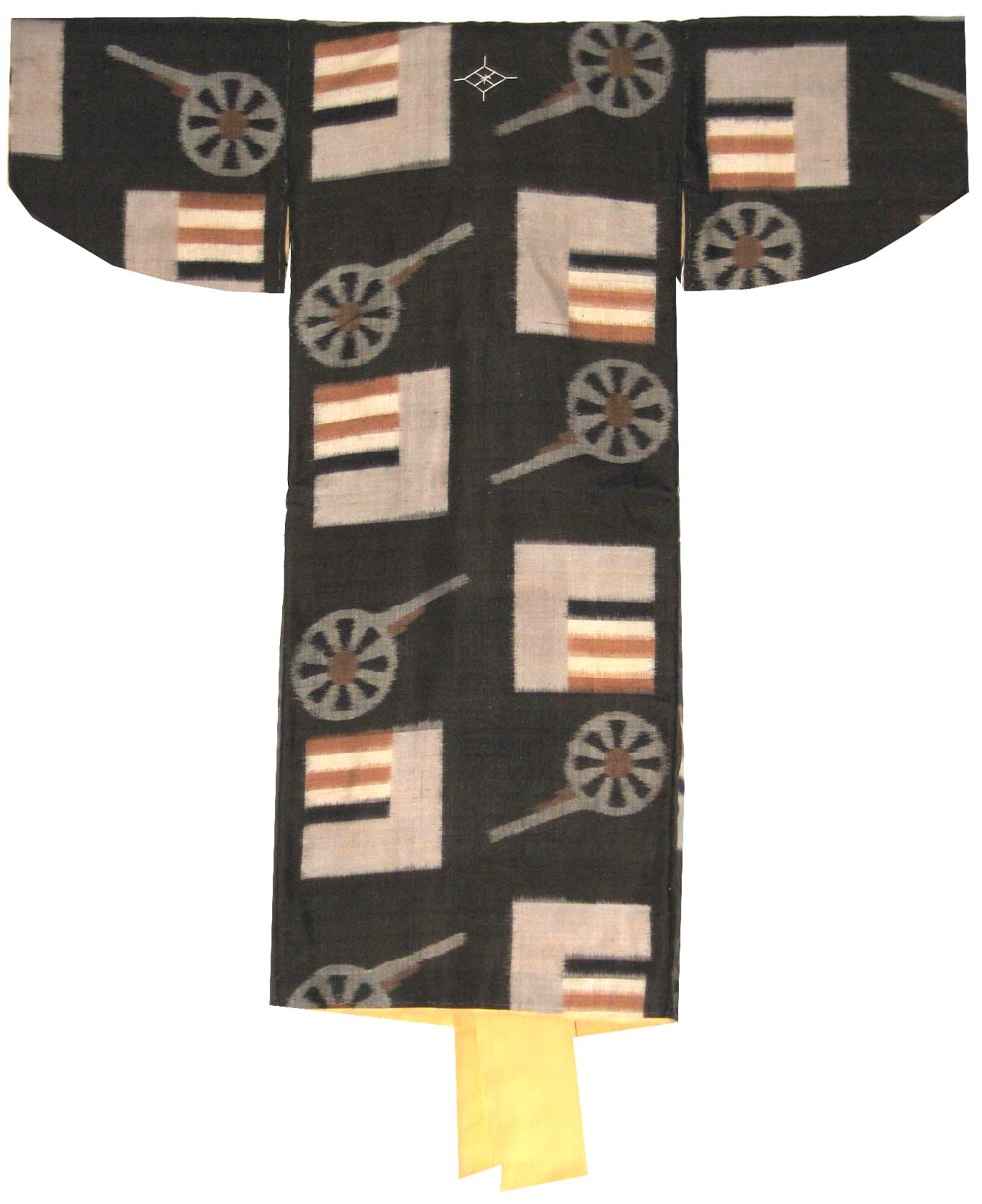 Cannon and Flags,  Boy's Kimono, c. 1935, Meisen silk, 32.25h x 32w in.
