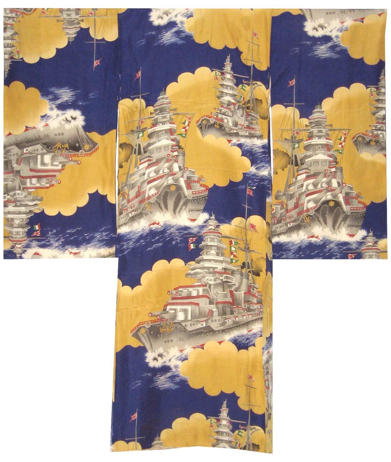 Battleships, Omiyamairi, c. 1940, silk, 37.75h x 33.5w in.