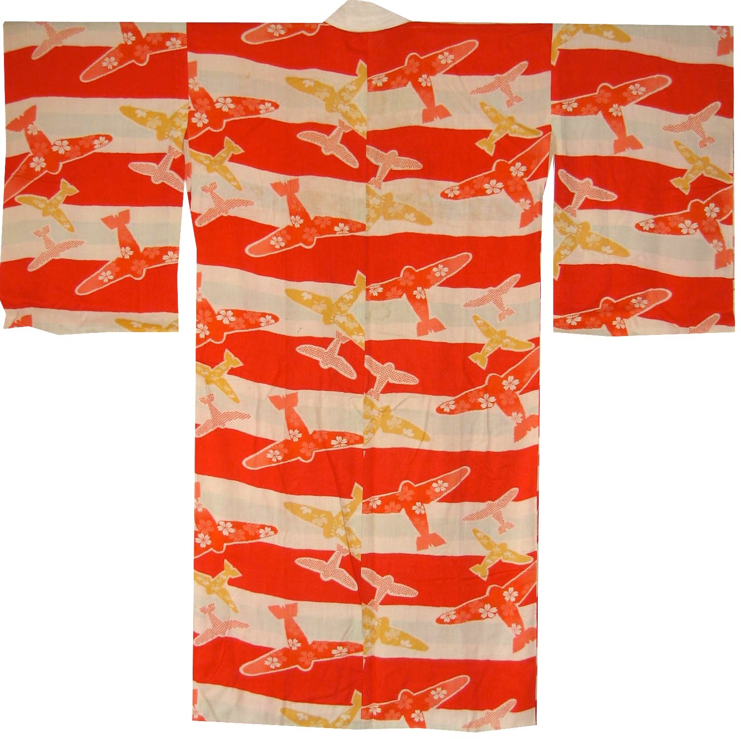 Planes and Cherry Blossoms,  Woman's Kimono, c. 1944, rayon, 45.25h x 47.25w in.