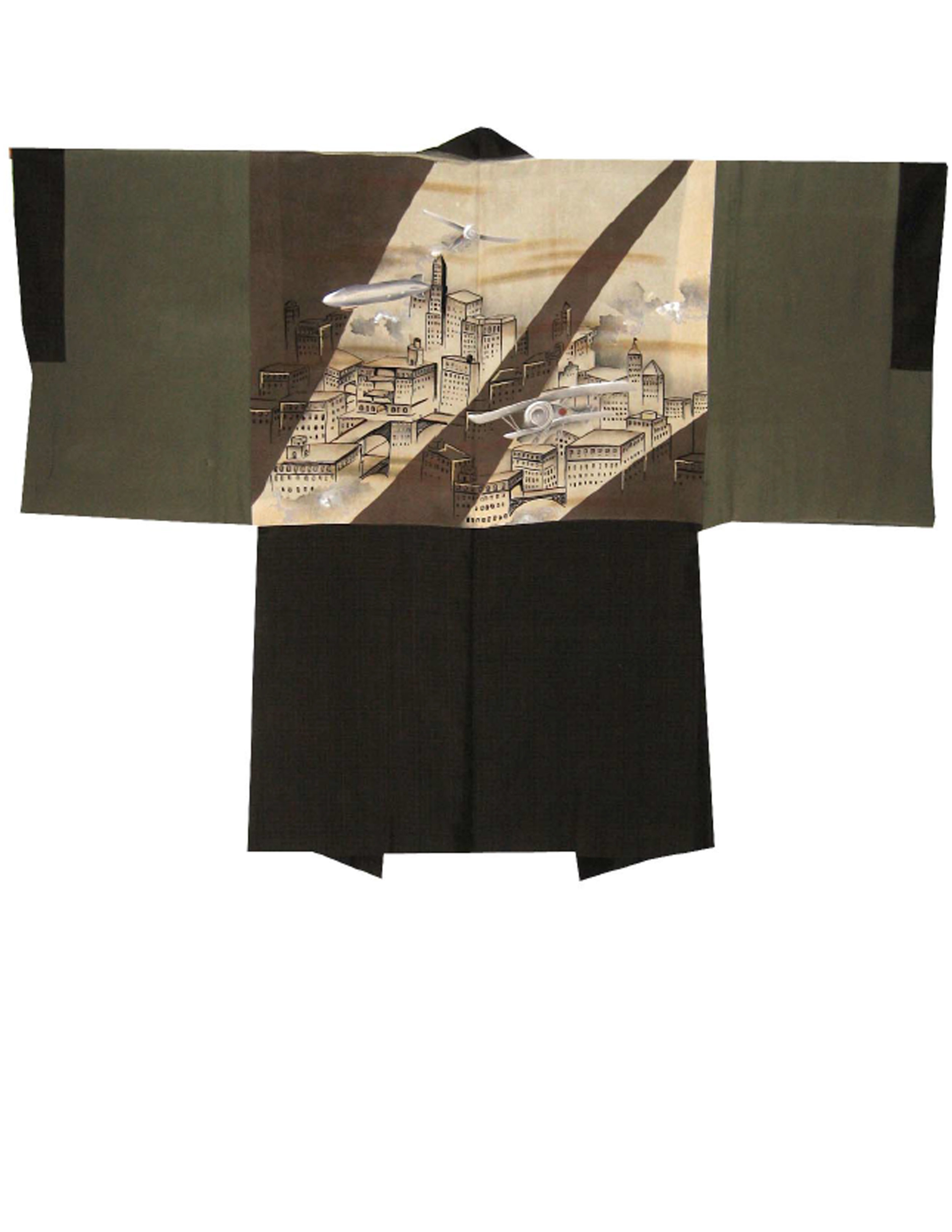 City of the Future,  Man's Haori, early 1930's, silk, 37.75h x 50.75w in.