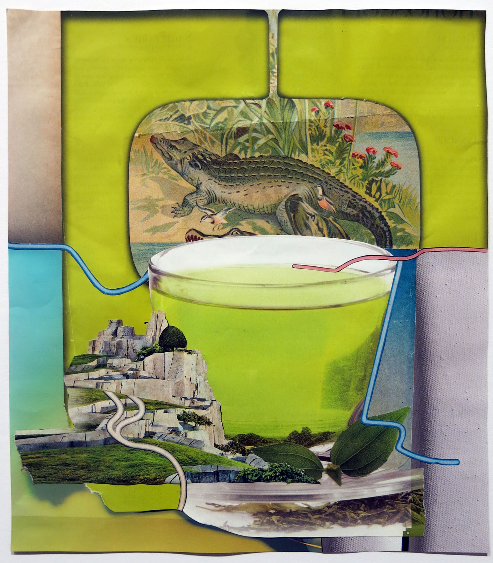 Untitled (tropical tea),  Jess Willa Wheaton, 2015, found paper, acid-free adhesive, 14.375h x 13w in.