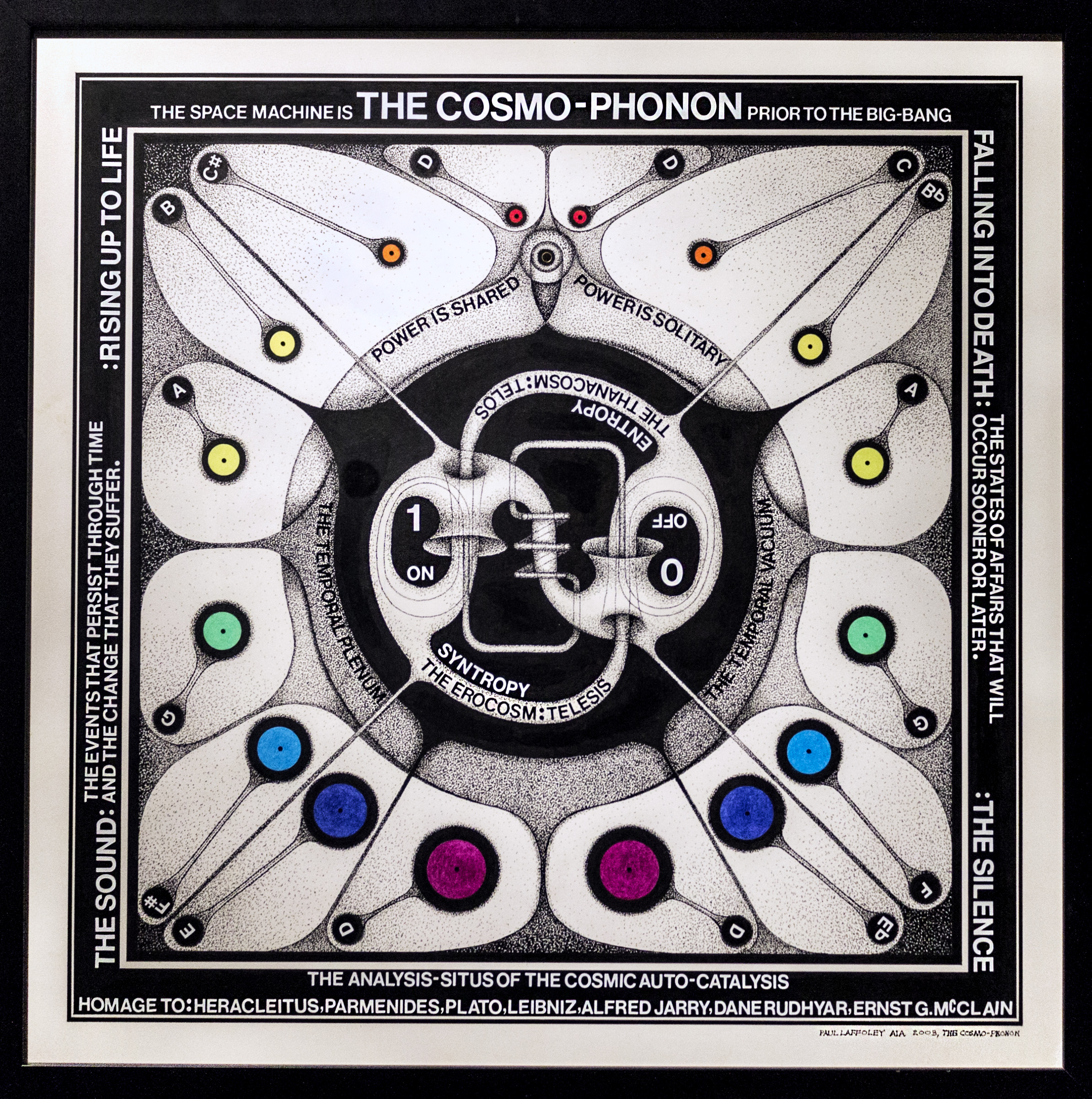 Paul Laffoley (1935-2015),  Cosmo-Phonen: Prior to the Big Bang,  2003, ink and letraset on board, 21h x 21w in.