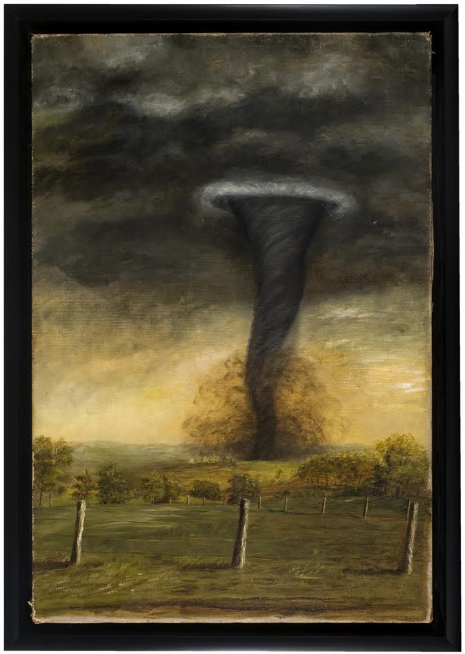 Anonymous (American),  Tornado, Northern Illinois,  c. 1875-80, oil on canvas, 23h x 15.5w in.