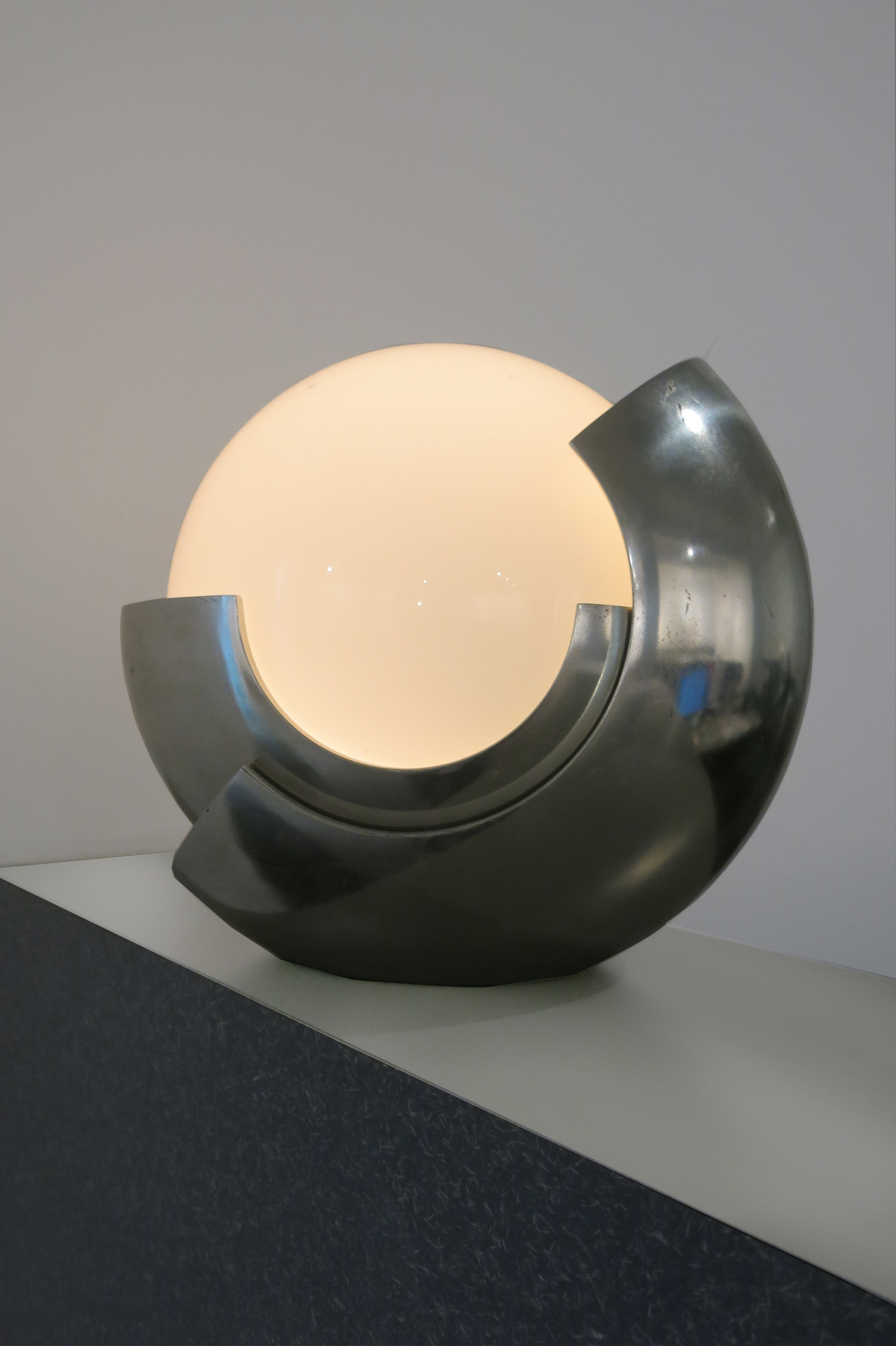Maison Bagues,  Moon Lamp (Globe),  France, c. 1960s, steel chrome, pate de verre, 13.5h x 13.5w x 11d in.