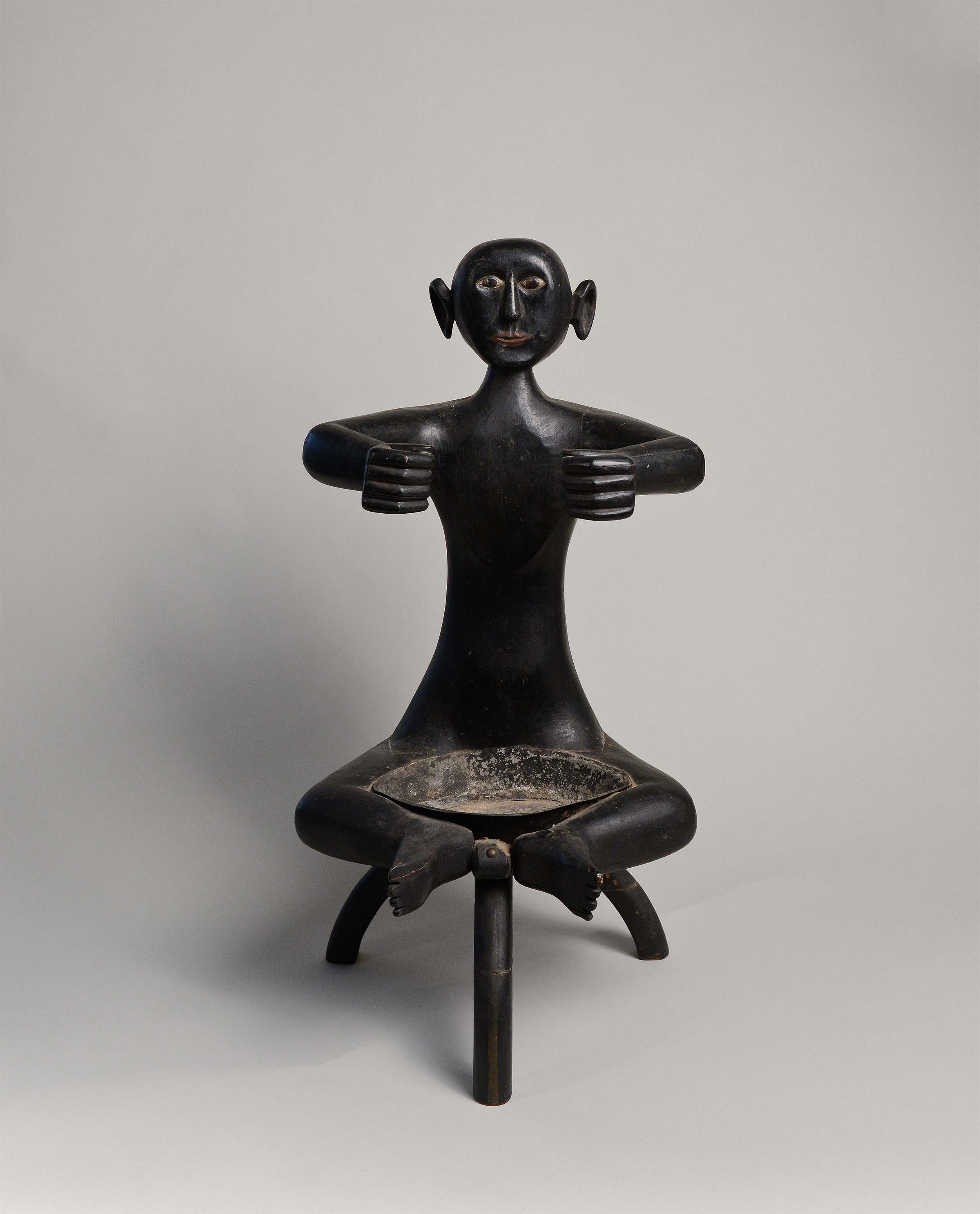 Anonymous, African-American, Seated Figure, c. 1910, carved wood and metal with original paint, 22h x 15w x 12d in.