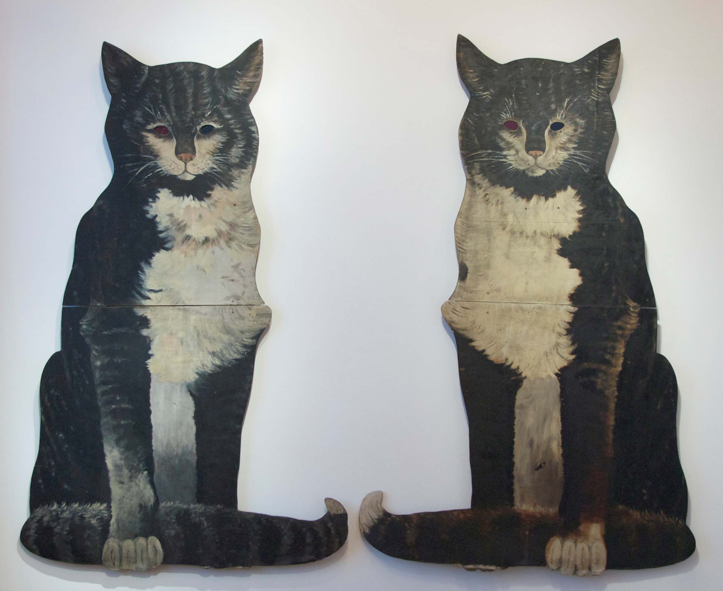 Anonymous, American, Pair of Cat Stage Props, c. 1940m wood with original paint and glass eyes, 60h x 30w x 4d in.