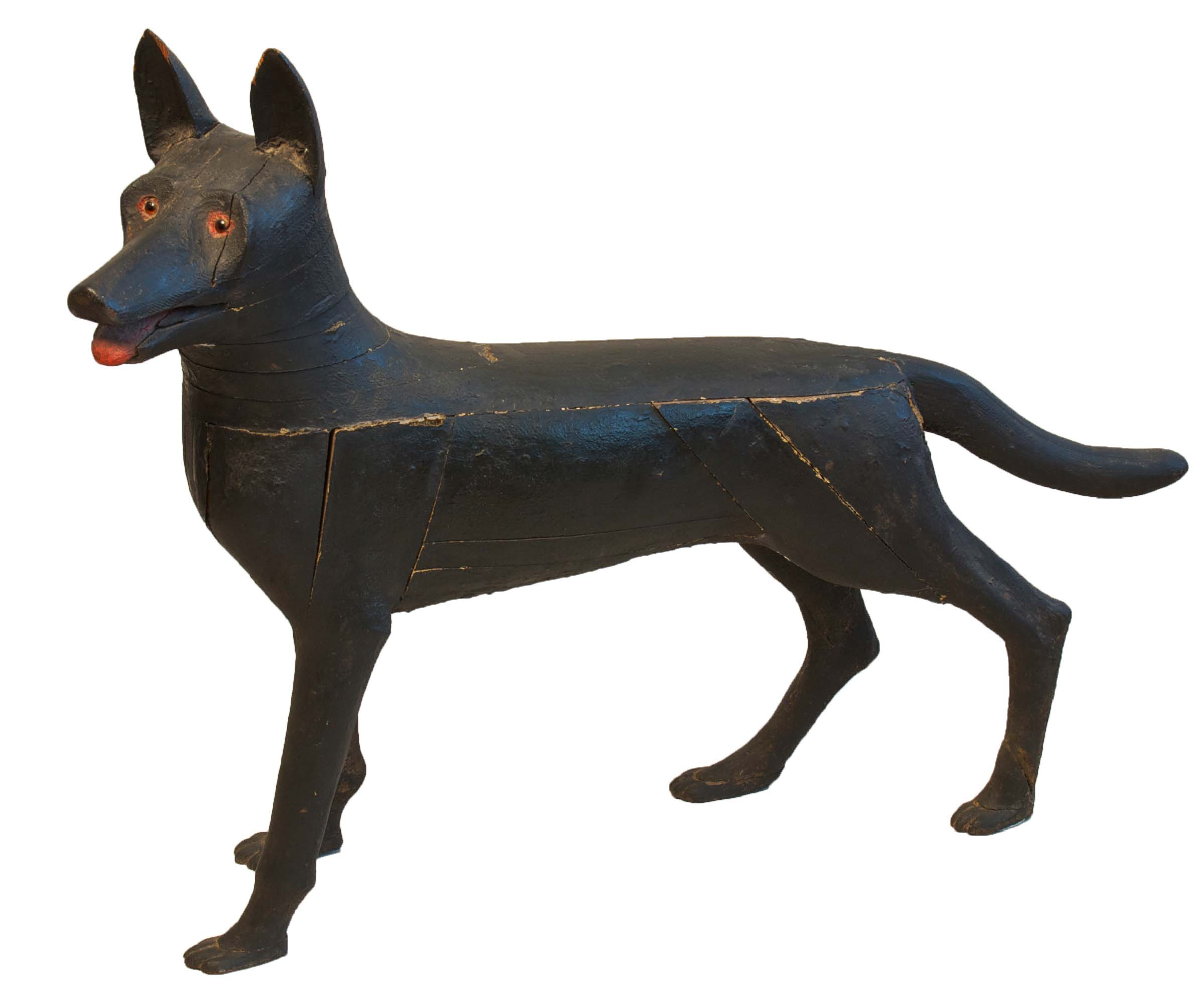 Anonymous, American, Dog,  c. 1920, carved wood with original paint, 28h x 40w x 12d in.