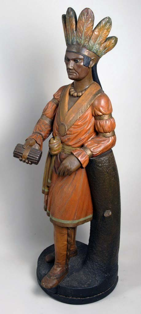Thomas Brooks (1828-1895), Cigar Store Indian Trade Figure, New York, c. 1870, carved wood with old painted surface, 50h x 22w x 22d in.