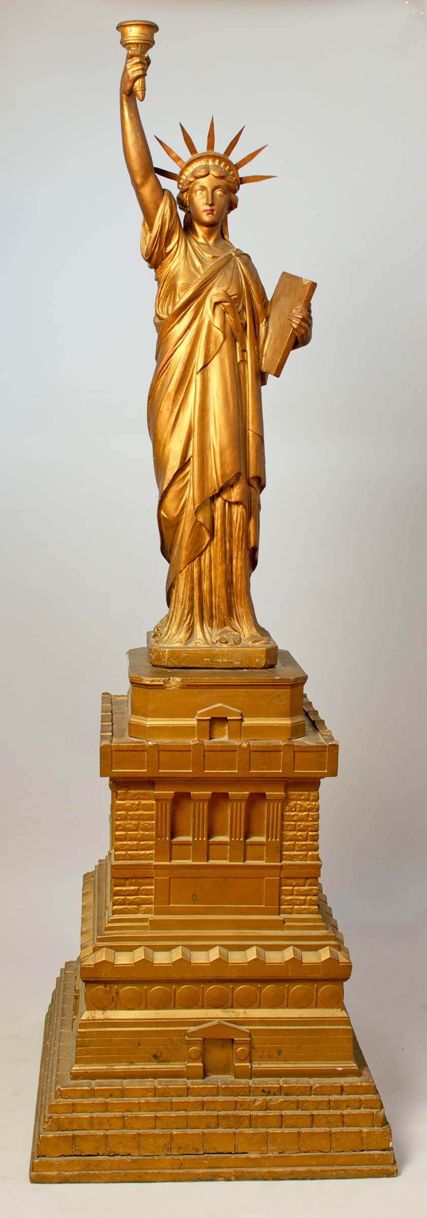 Max Voigt, Philadelphia, Statue of Liberty, c. 1918, cast plaster and paint, 70h x 24w x 24d in. (2 parts)