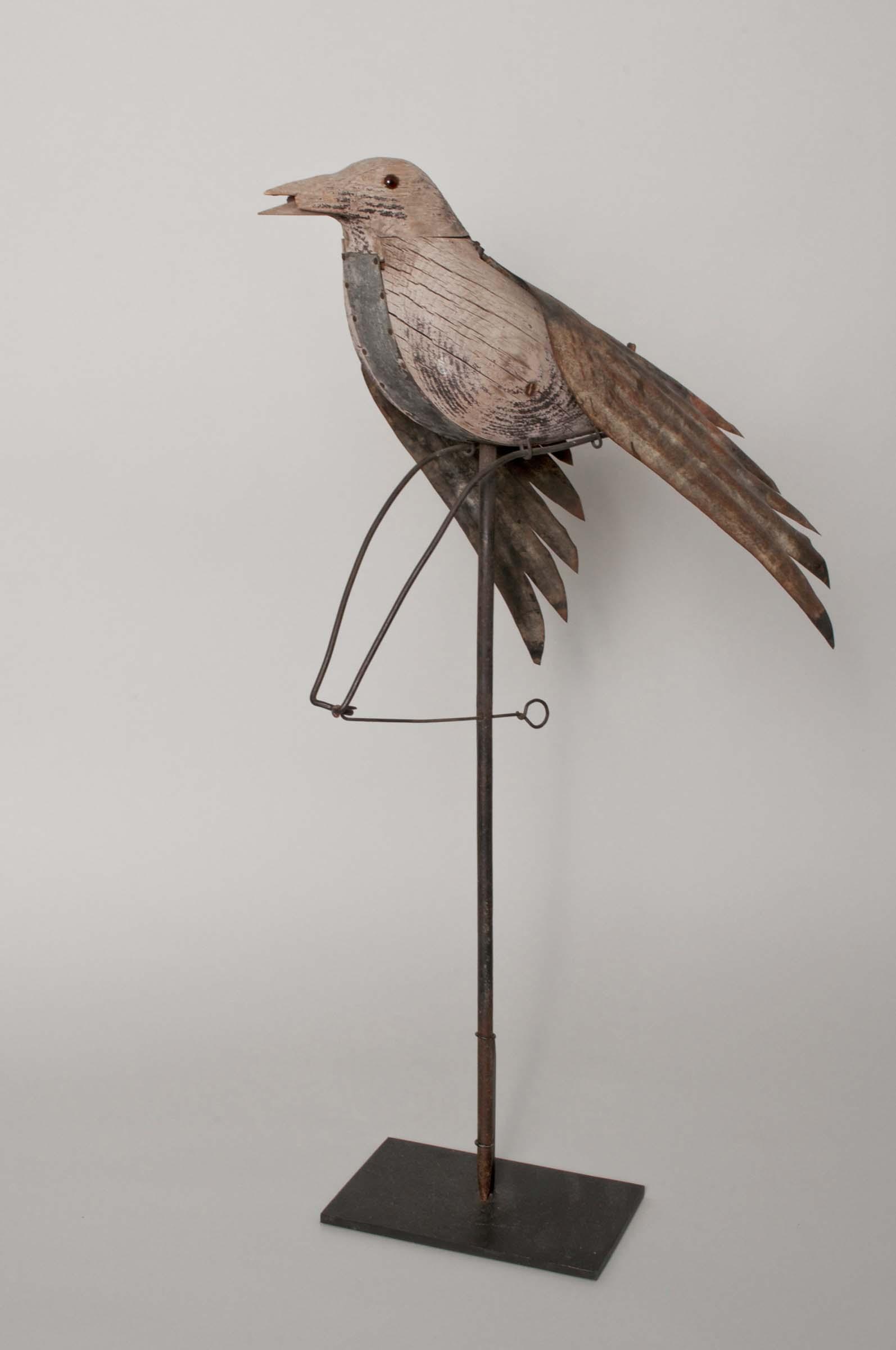 Charles Perdew III, Mechanical Crow Decoy, 1930, wood, 26h x 11w x 17d in.