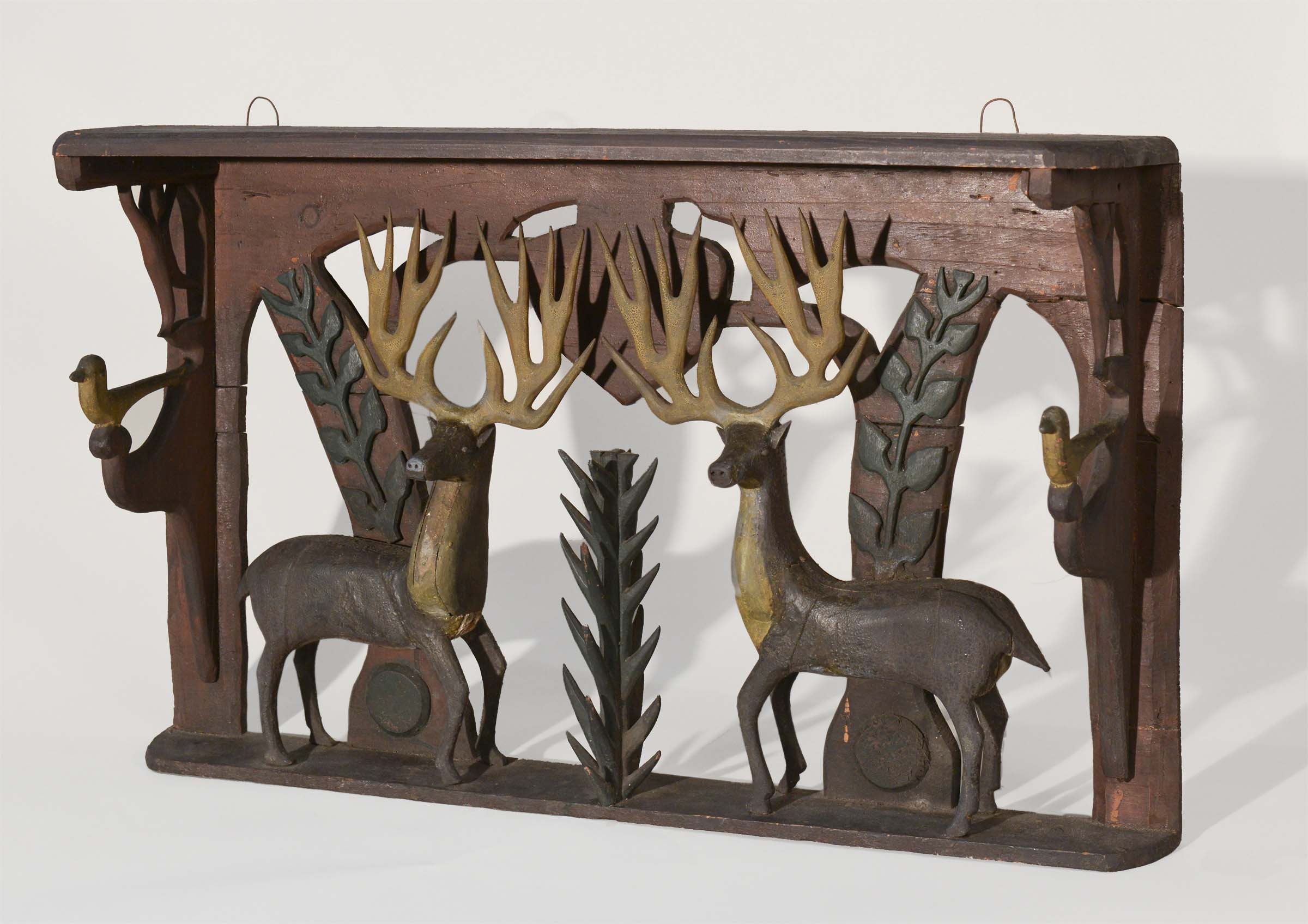 Anonymous, Maine, Shelf With Moose, c. 1920, carved wood with paint, 28h x 22w x 7d in.