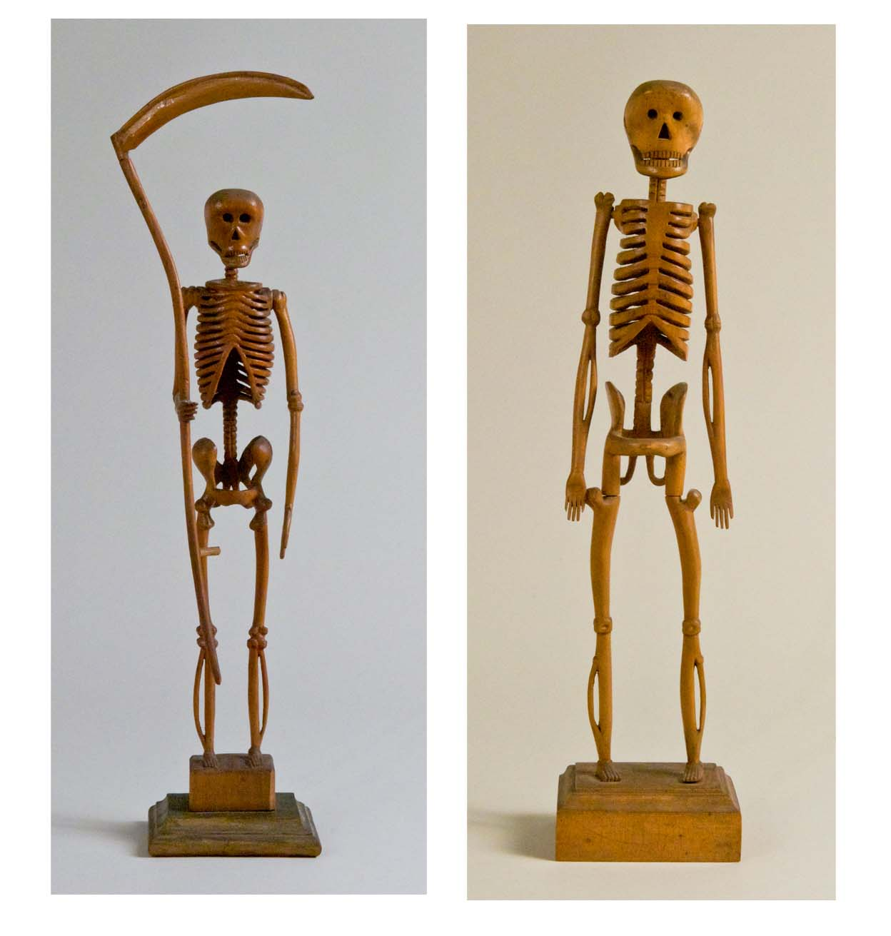M. Rothloff, Athens, PA, Pair Of Carved Skeletons, 1906, carved and varnished wood, 18h in. ea.