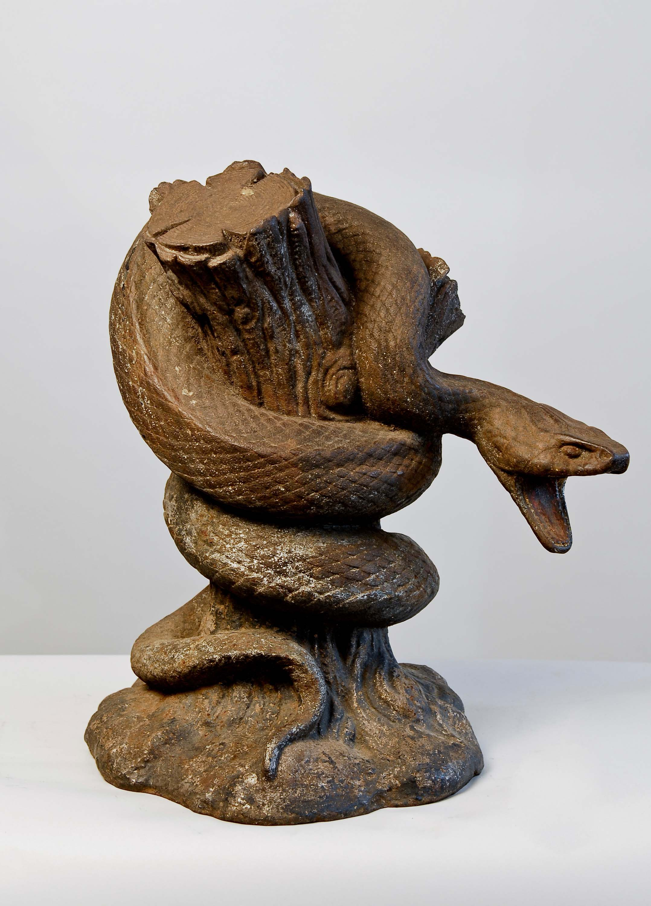Anonymous, American, Snake Fountain Figure, c. 1900, cast iron with old paint, 30h x 25w x 25d in.