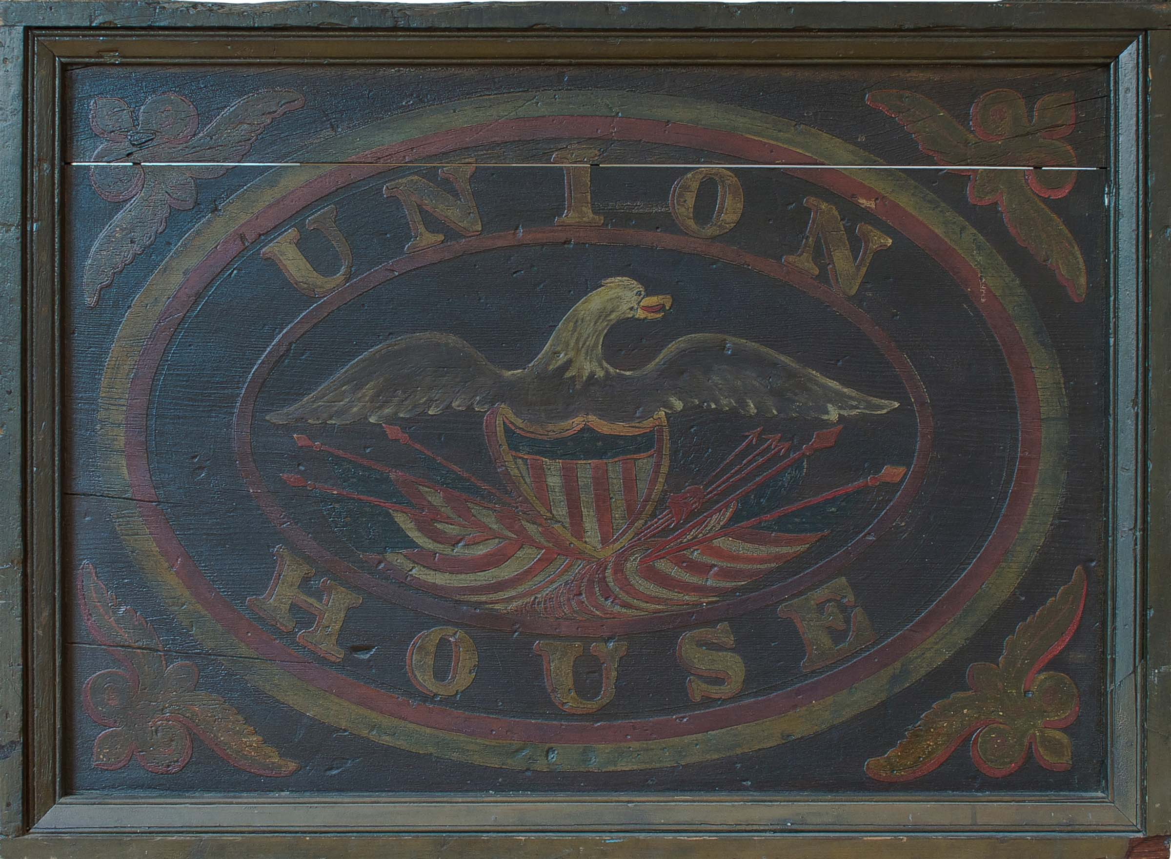 Anonymous, New York State, Union House Tavern Sign, c. 1860, painted wood and iron, 52.5h x 47w x 10d in.