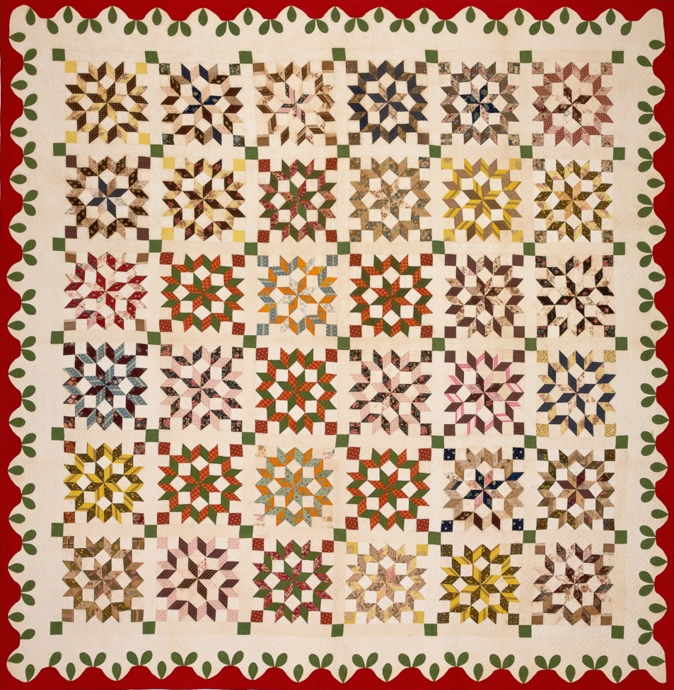 Possibly South Carolina,  Carpenter's Wheel or Broken Star Pieced Quilt , c. 1830s-40s, cotton and chintz, 106h x 108w in.