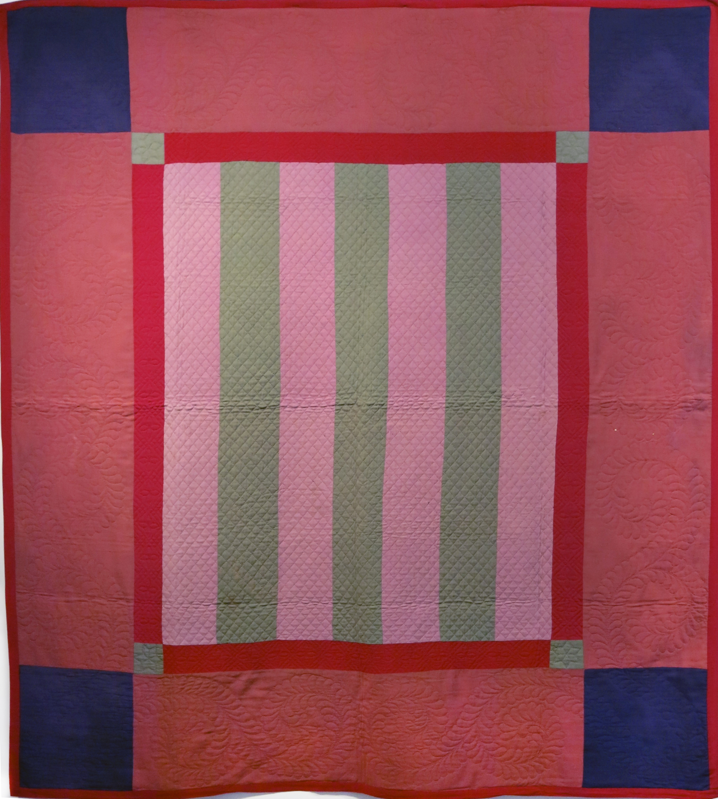 Amish, Lancaster County, PA,  Five Color Bars Quilt , c. 1930s-40s, wool and cotten crepe, 82h x 73w in.
