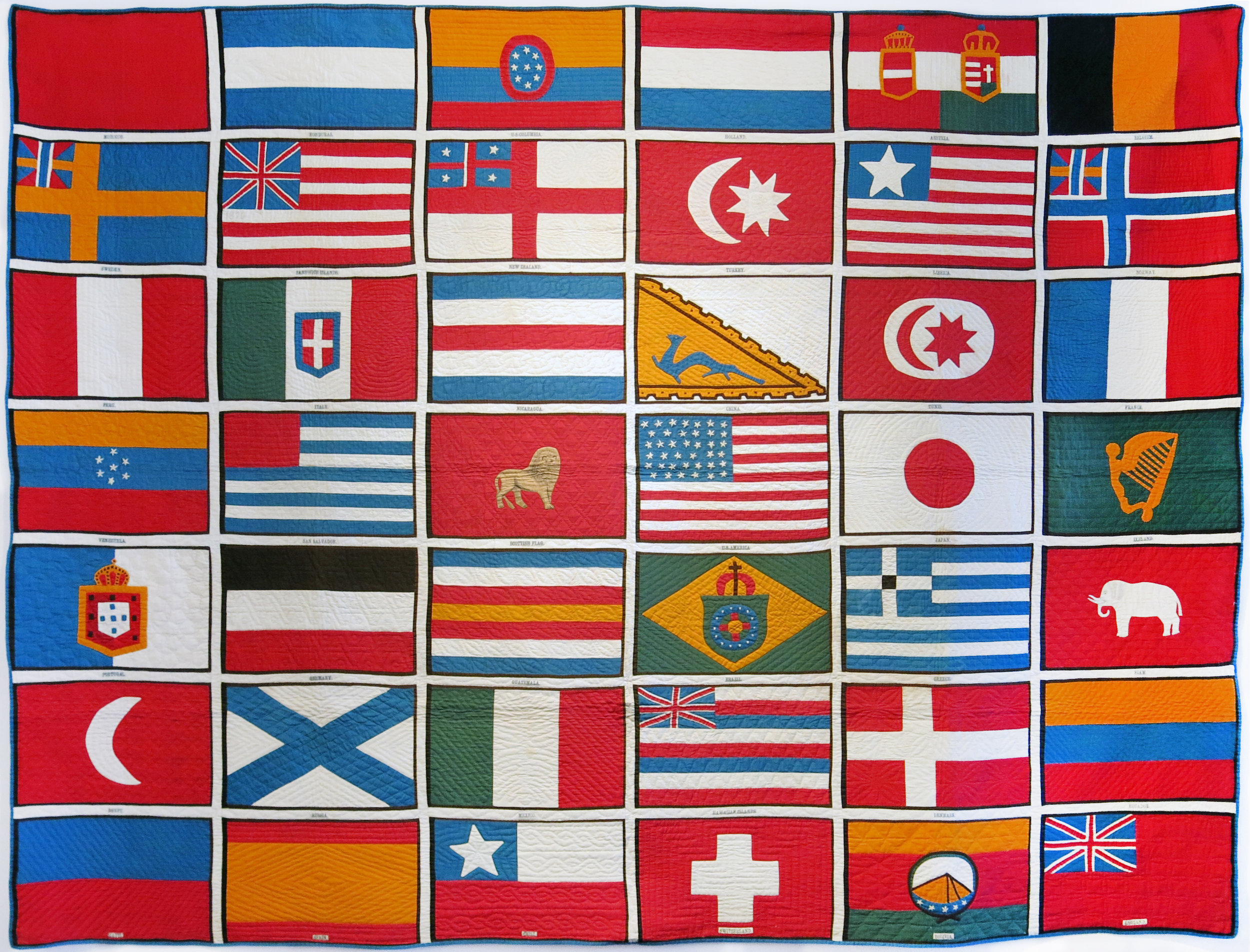 Unknown origin,  Flags of the Nations of the World Quilt , c. 1876, cotton, 69.5h x 92.3w in.