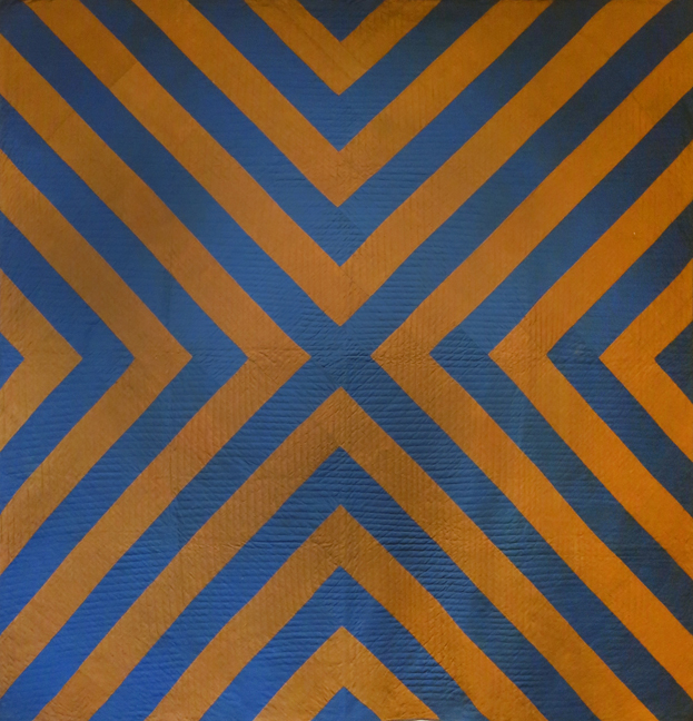 Amish or Mennonite, Lancaster County, PA,  X or Chevron Bars Pieced Quilt , c. 1880s, wool, 85h x 80w in.