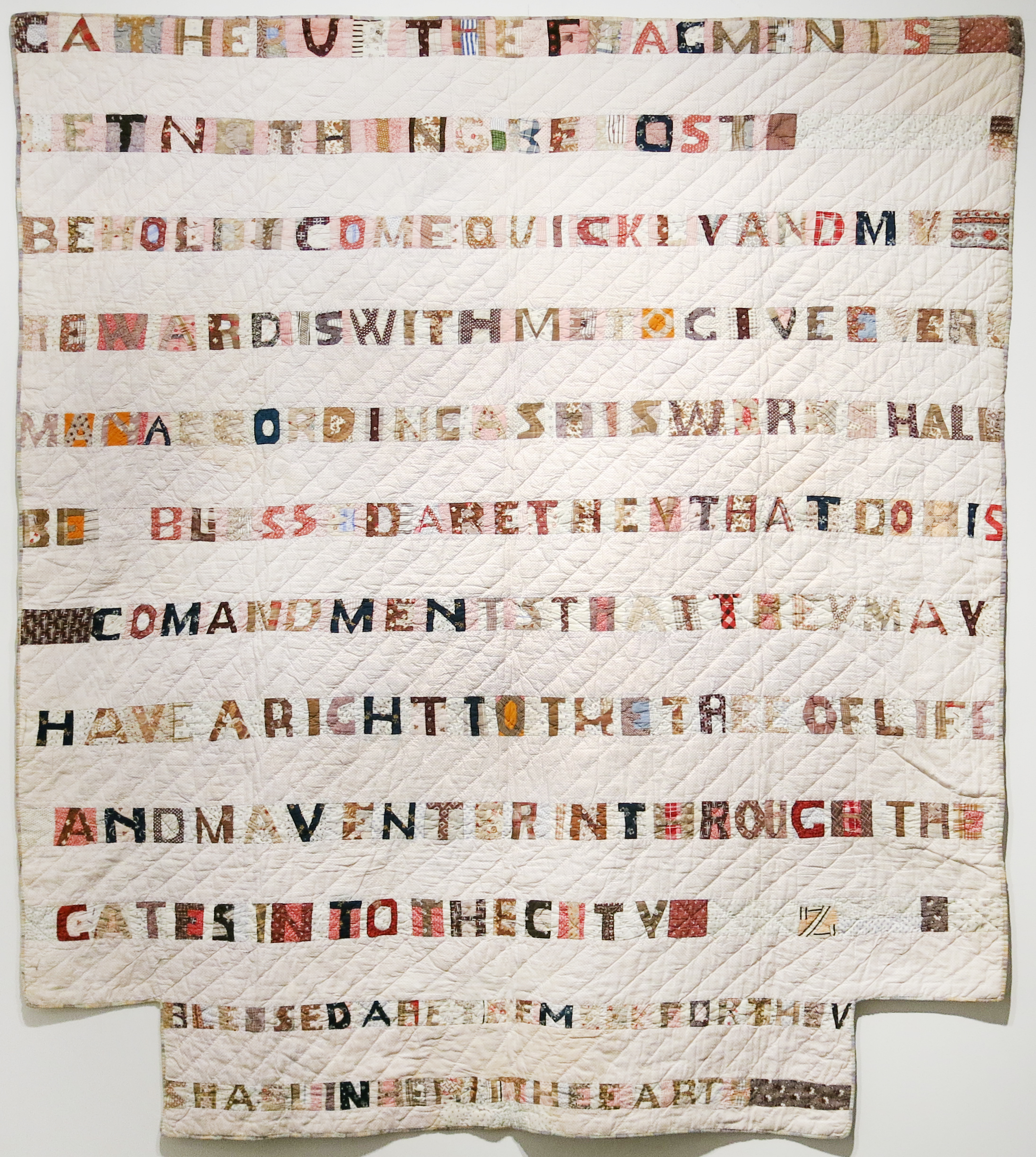 New York State,  Gather Up the Fragments Scriptures Pieced Quilt , c. 1870s, cotton, 72h x 66w in.