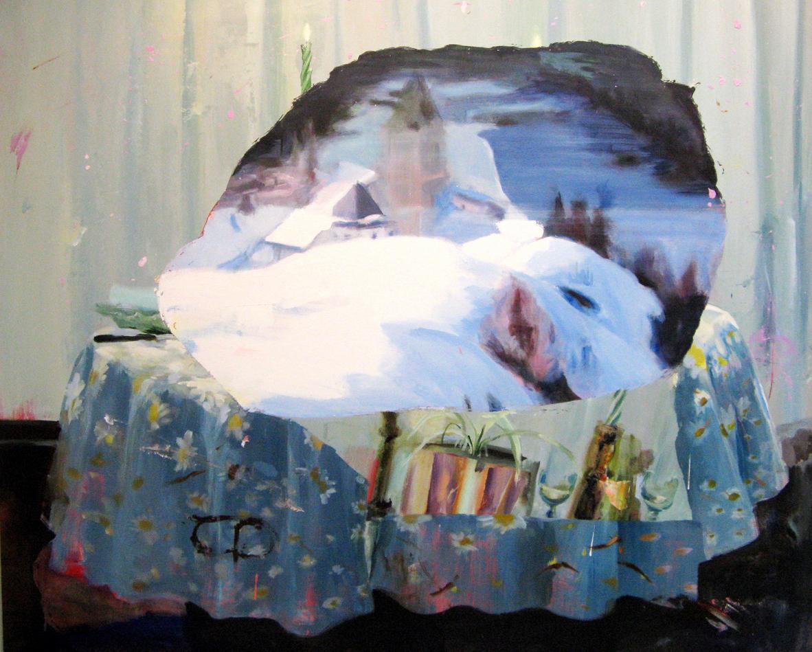 Judith Simonian, Blue Feast , 2013, Acrylic on canvas, 61h x 72w in