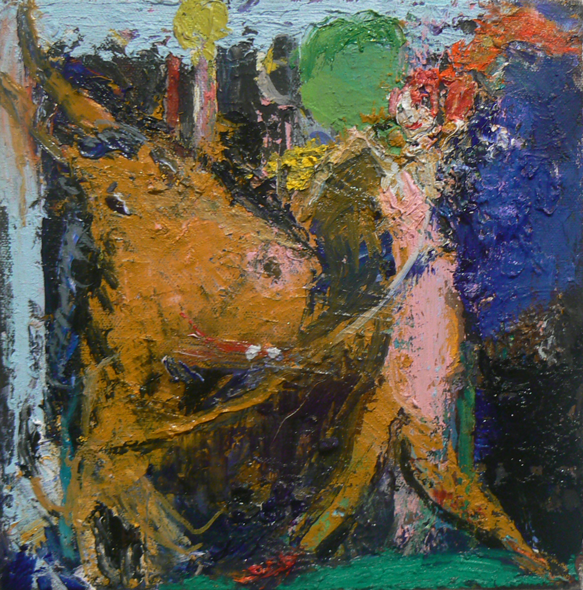 Matt Blackwell, Dancing , 2013, oil and canvas, 8h x 8w inches